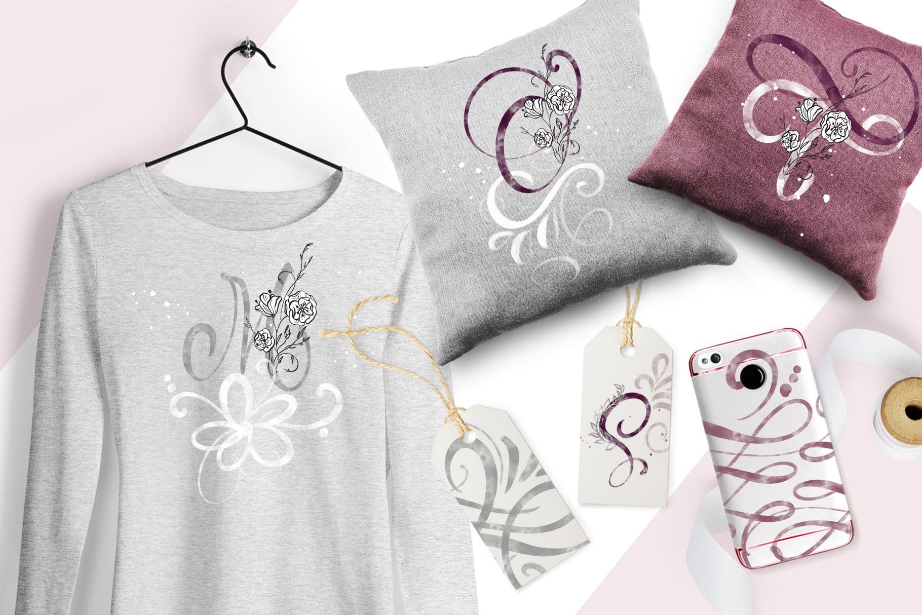 花卉字母水彩字母表装饰图案图片素材 Flowers Letters Watercolor Alphabet插图(1)