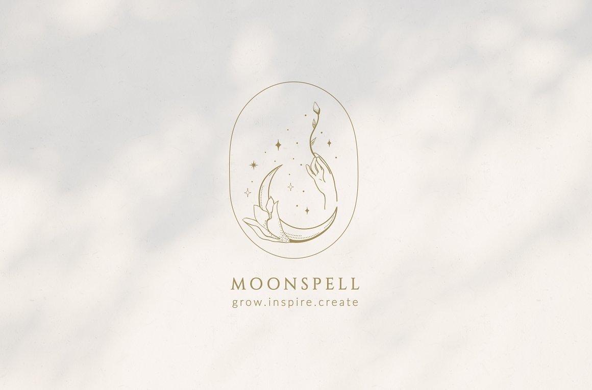 月亮主题品牌标志设计&矢量插画背景包装设计素材 Premade Moon Brand Logo and Packaging Design插图(1)