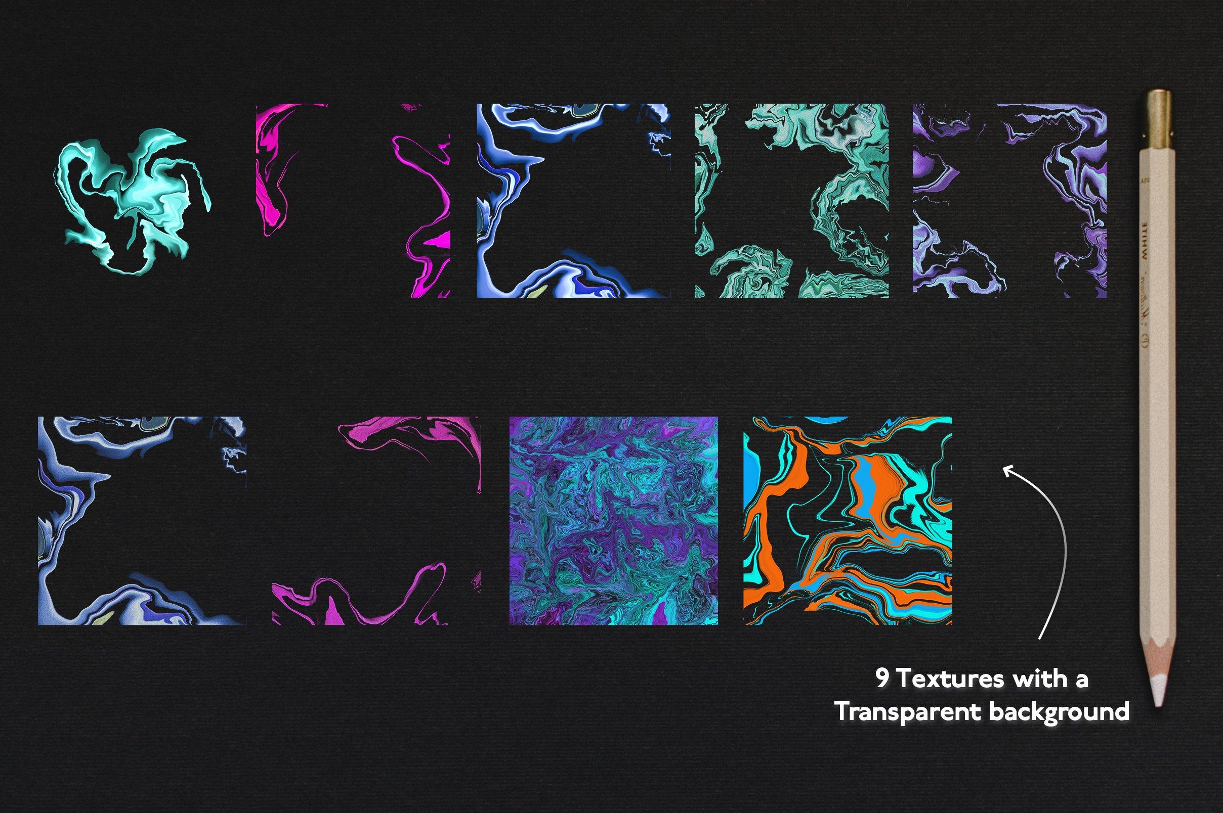 大理石纹理Procreate笔刷 Liquid Marble Texture Brush Bundle Noise插图(1)