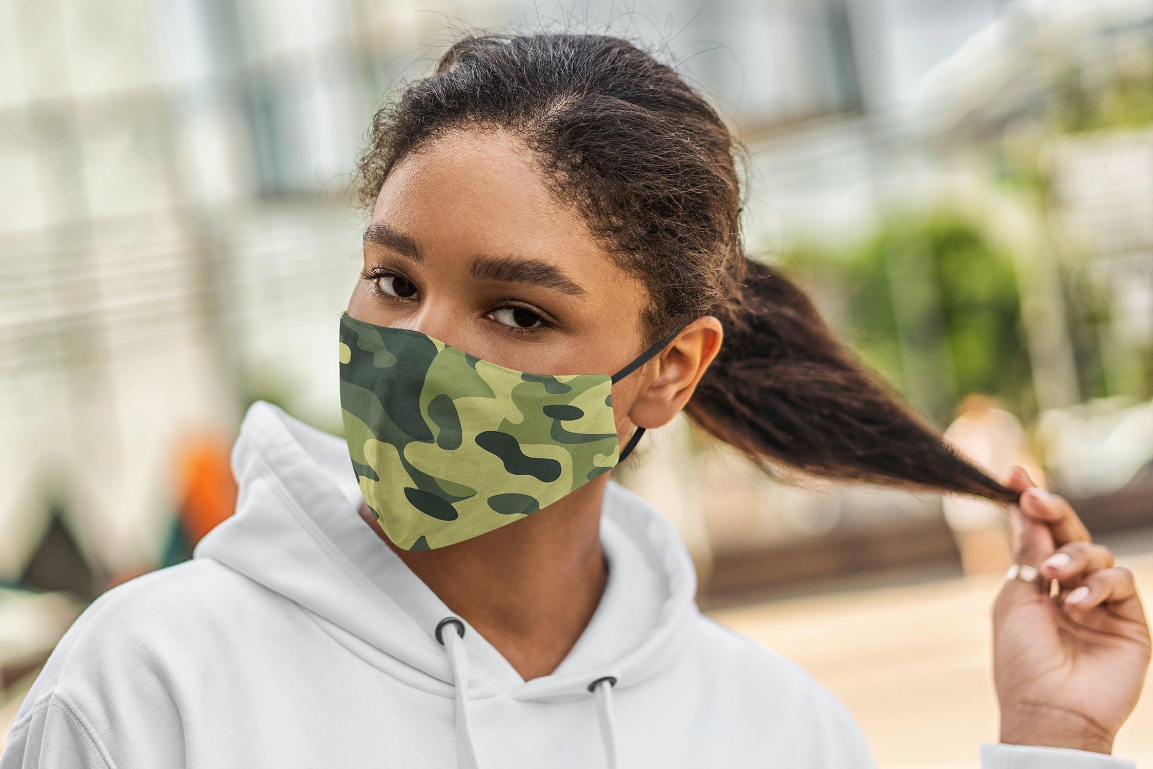 5款防护面罩口罩印花设计展示样机模板 Face Mask Mockup Lifestyle Vol.2插图(1)