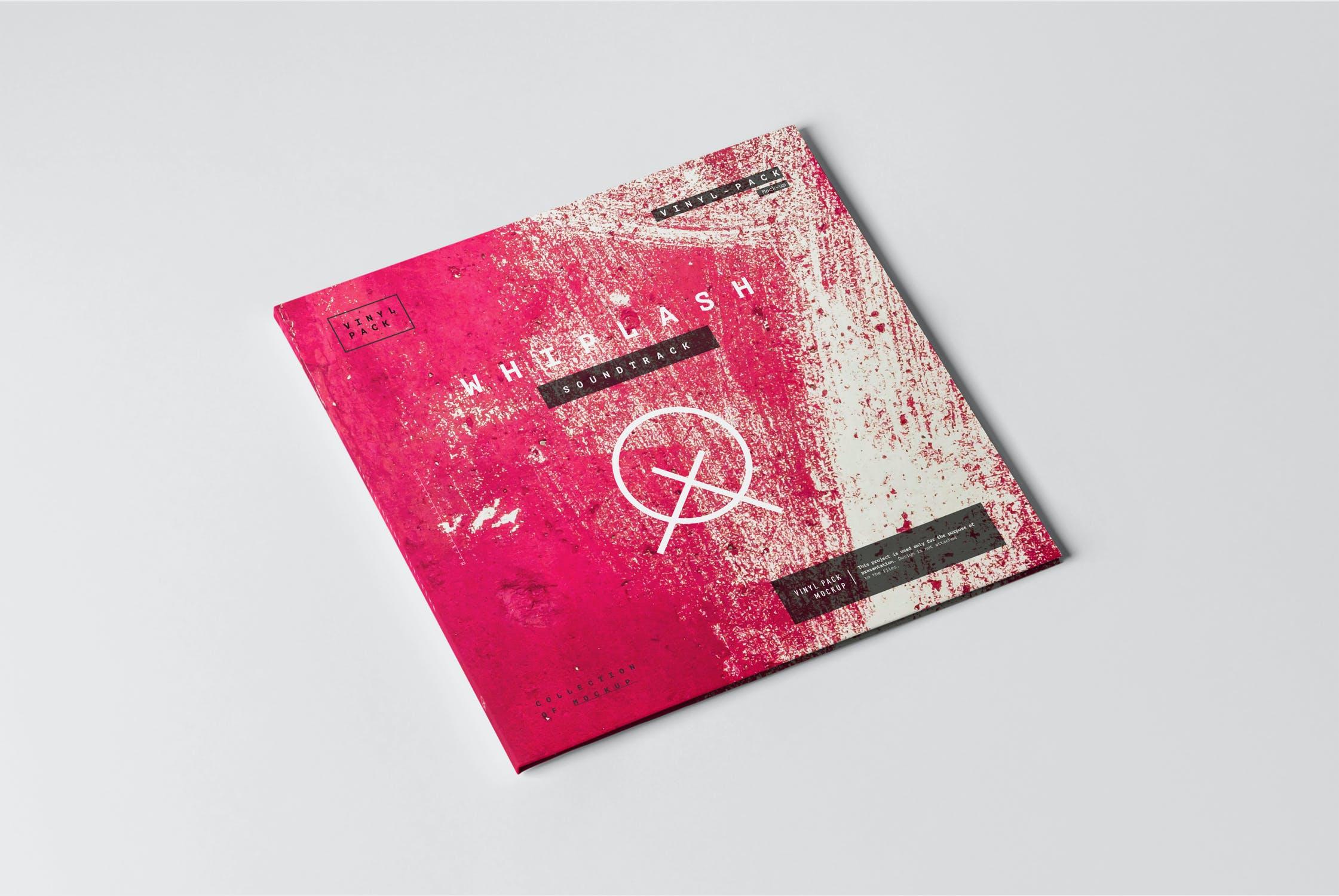 12款逼真黑胶片唱片纸袋设计展示样机 Vinyl Mockup 2插图(1)