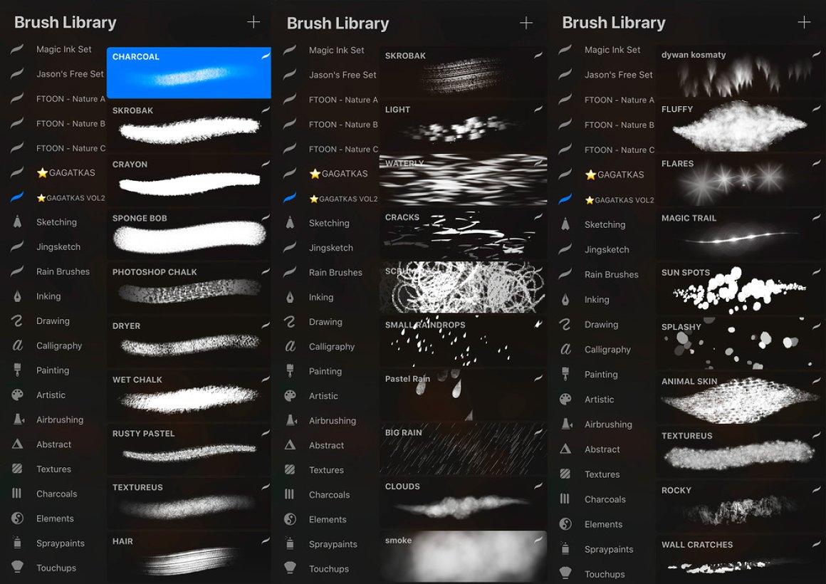 77款树叶花草水滴斑点Procreate笔刷套装 Gagatkas Procreate Brush Set插图(1)