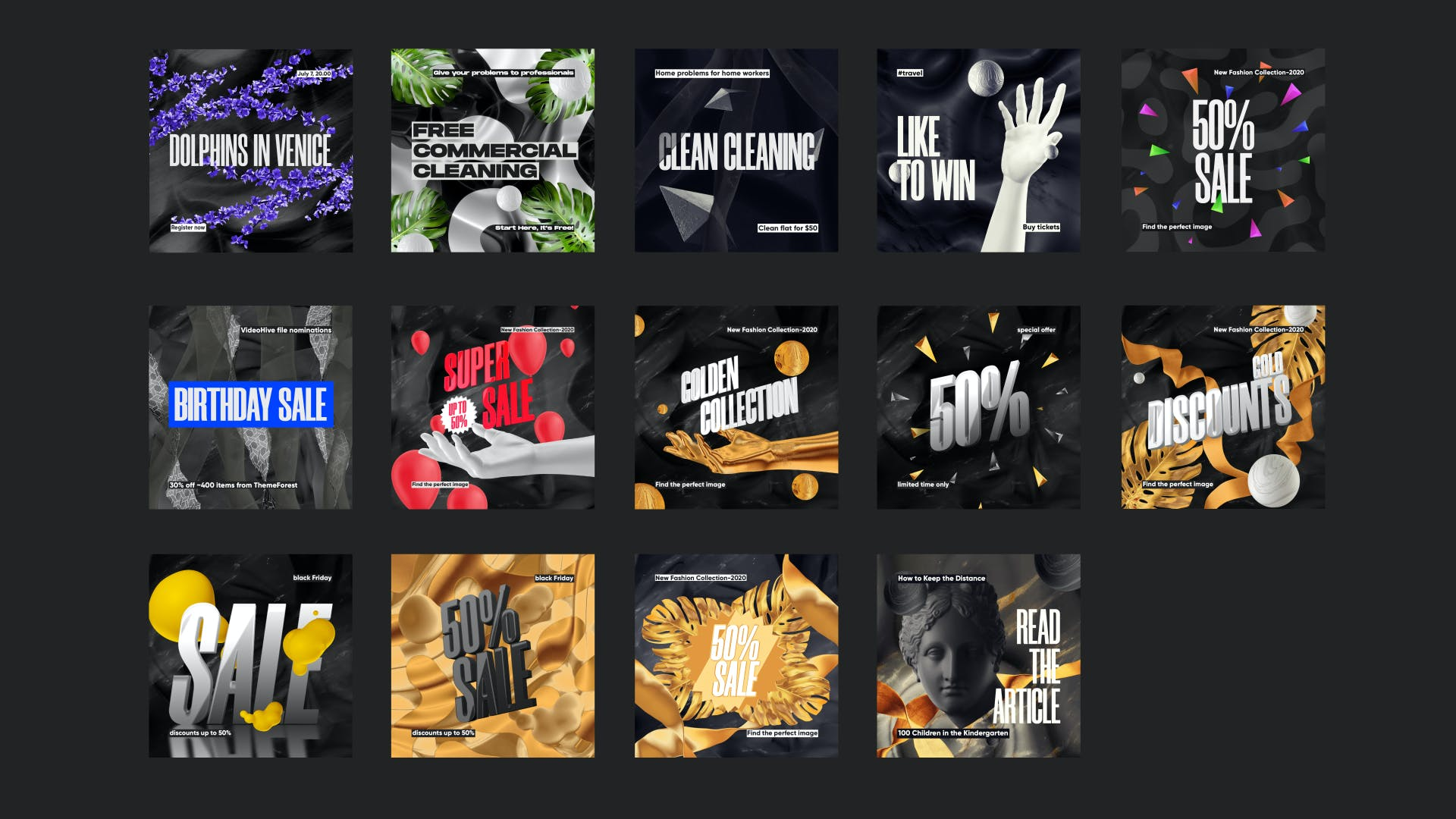 黑色高端品牌推广新媒体电商海报设计PSD模板 Sale Promotion Social Media Kit插图(1)