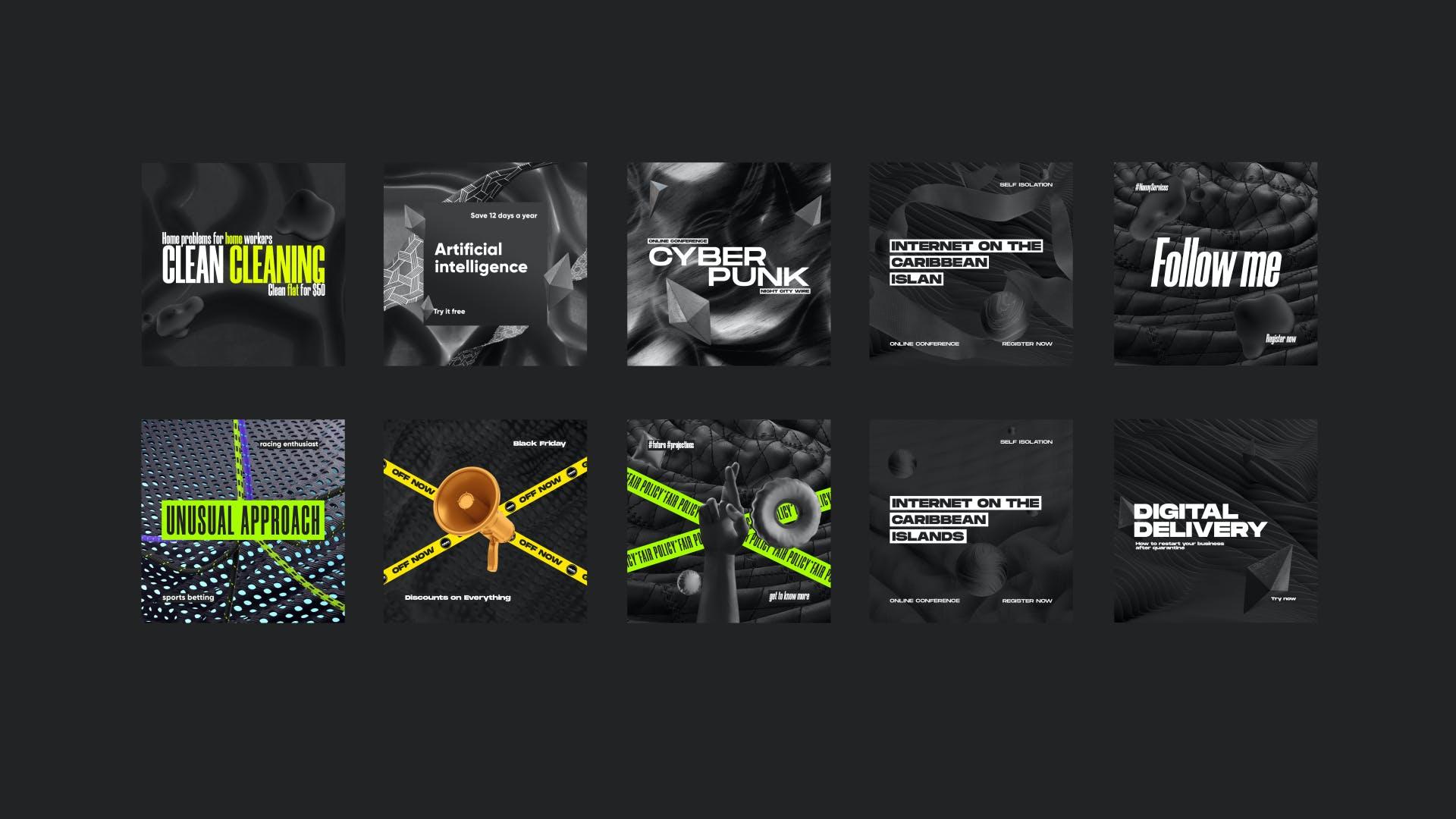 黑色潮牌新媒体推广电商海报设计模板合集 Black Social Media Pack插图(1)