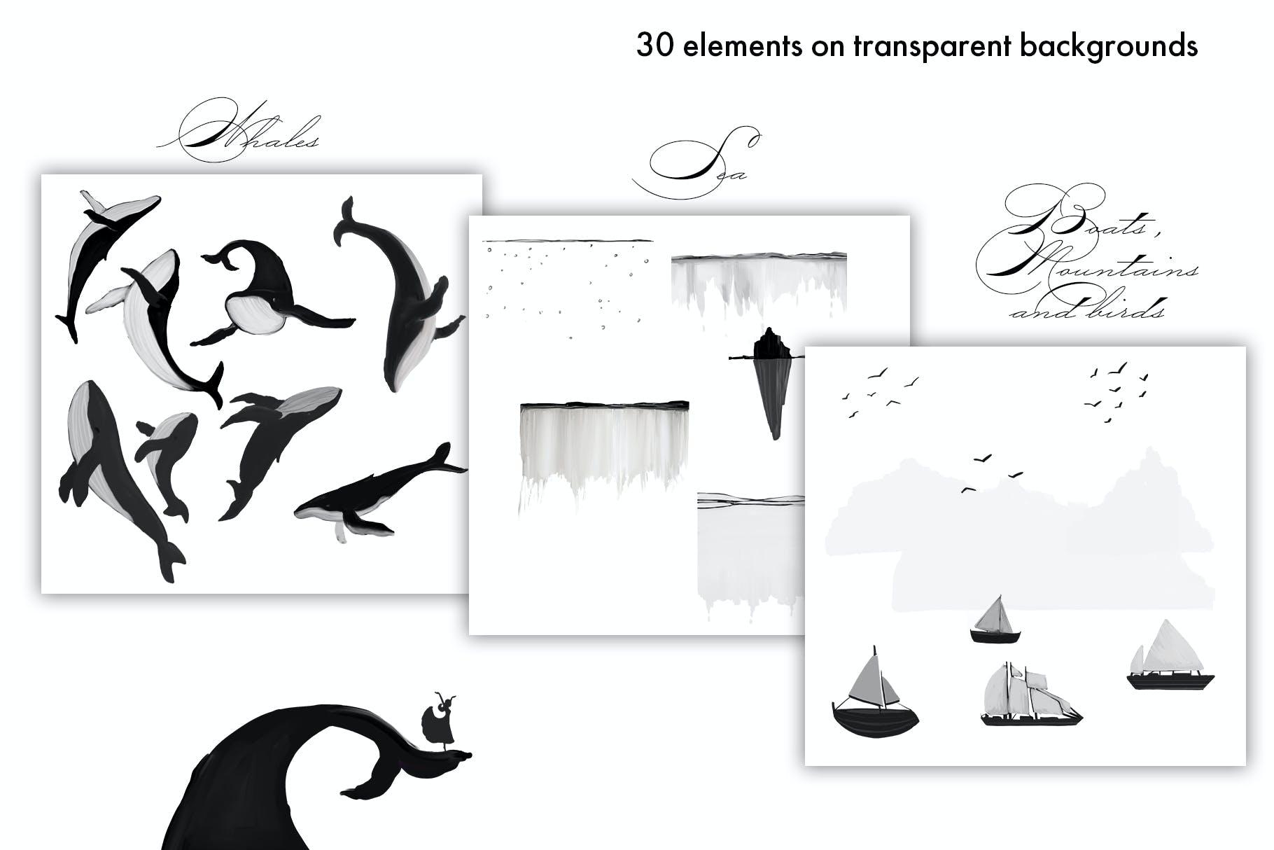 30款精美高清手绘鲸鱼轮船山脉图片素材 Whales – Black And White Prints插图(1)
