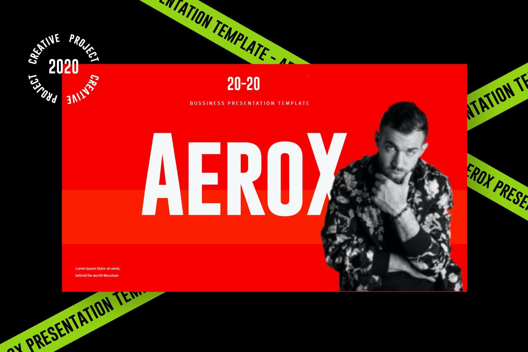 时尚潮流撞色运动潮牌品牌推广PPT演示文稿模板素材 Aerox – Powerpoint Template插图(1)