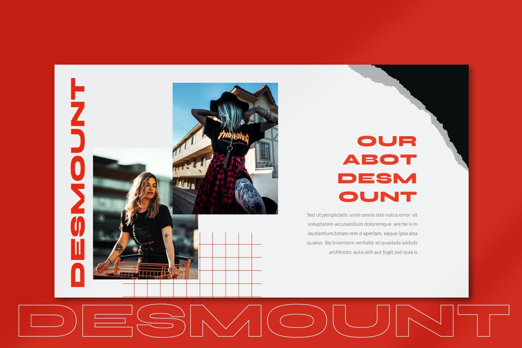 时尚潮流撕纸潮牌品牌推广深色PPT演示文稿模板素材 Desmount – Powerpoint Template插图(1)