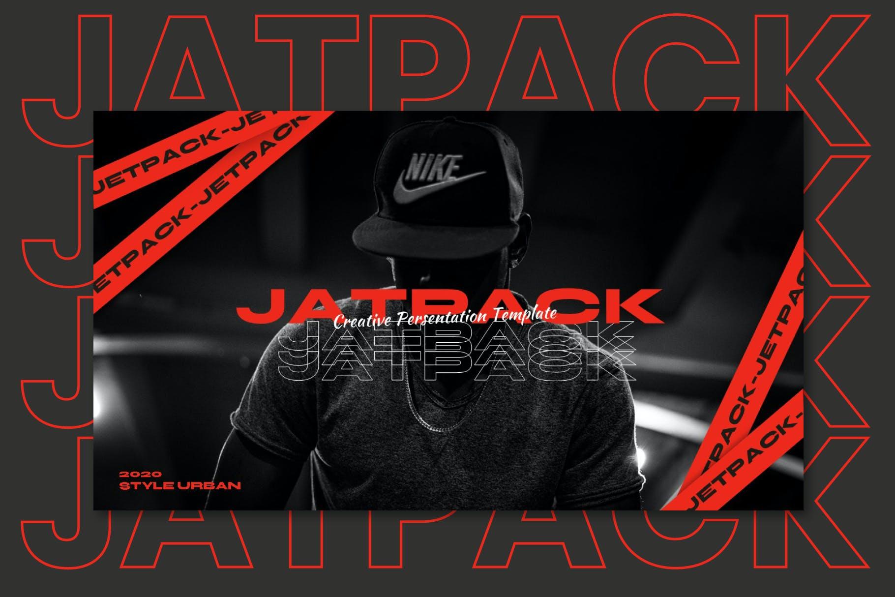 时尚潮流街头文化潮牌品牌推广深色PPT演示文稿模板 Jetpack – Powerpoint Template插图(1)