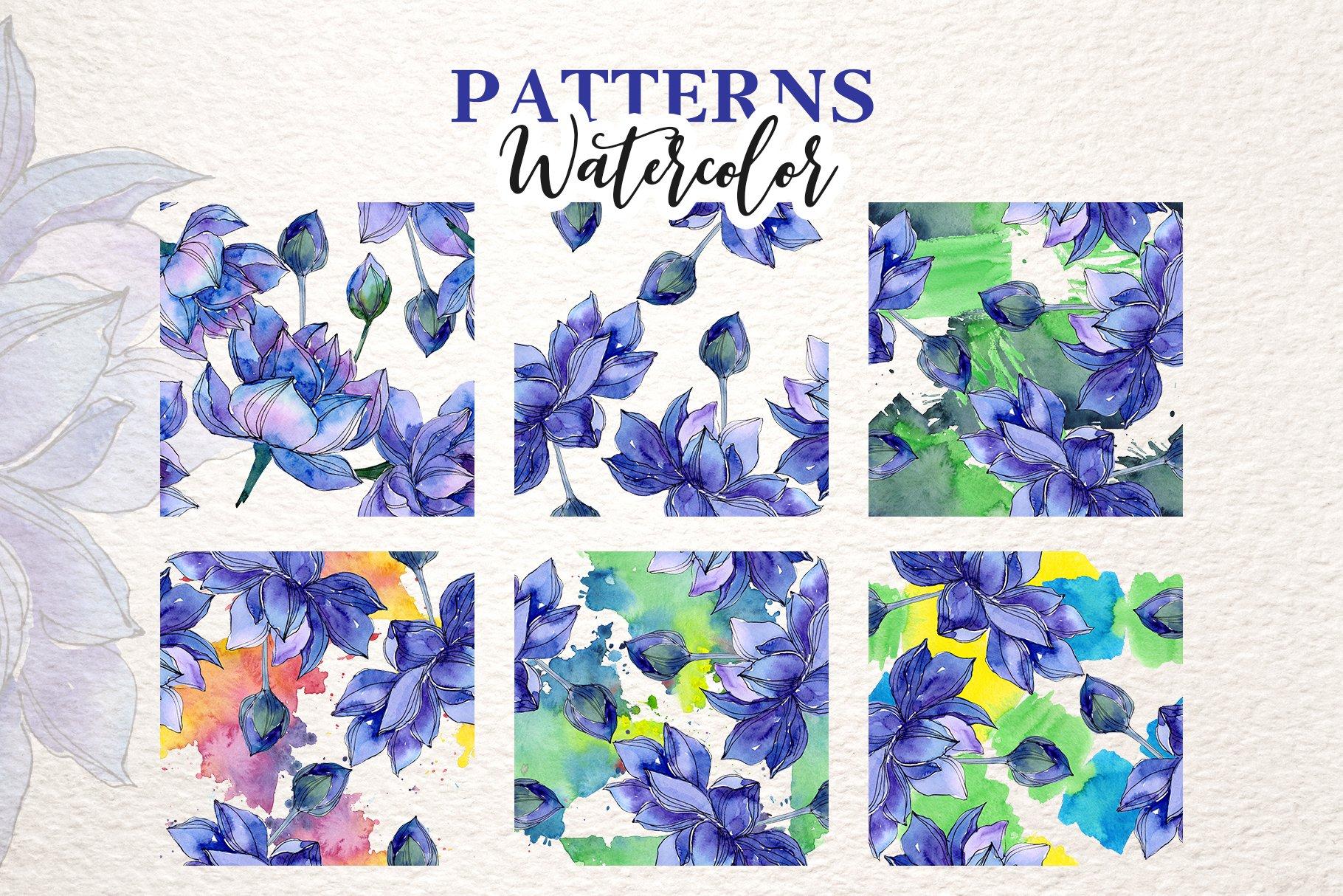 18个高清手绘莲花水彩画PNG免抠图片素材 Watercolor Lotus Set插图(1)