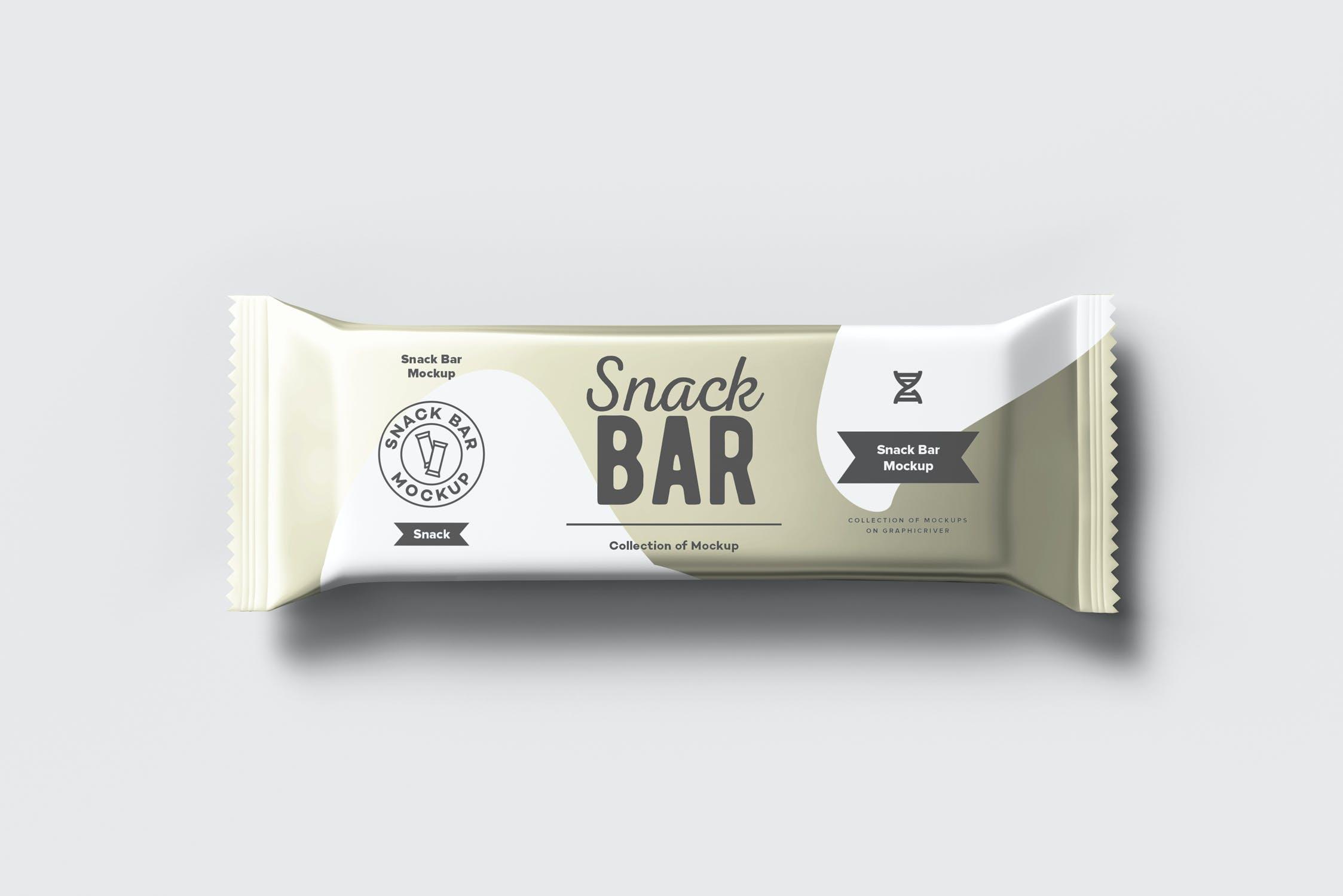 7款巧克力棒小零食塑料袋设计展示样机 Snack Bar Mockup插图(1)