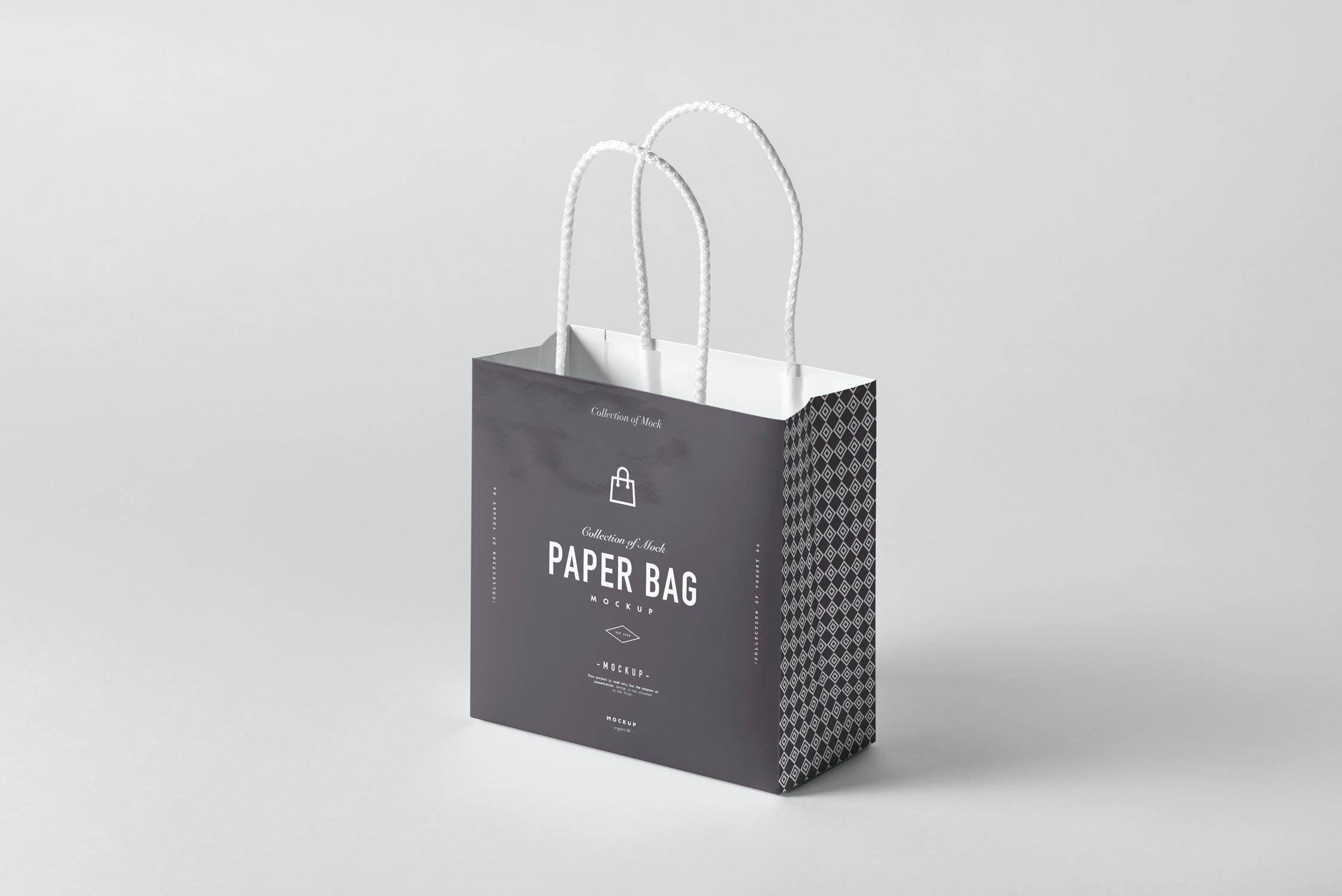 11款购物手提纸袋设计展示样机模板 Paper Bag Mockup 2插图(1)