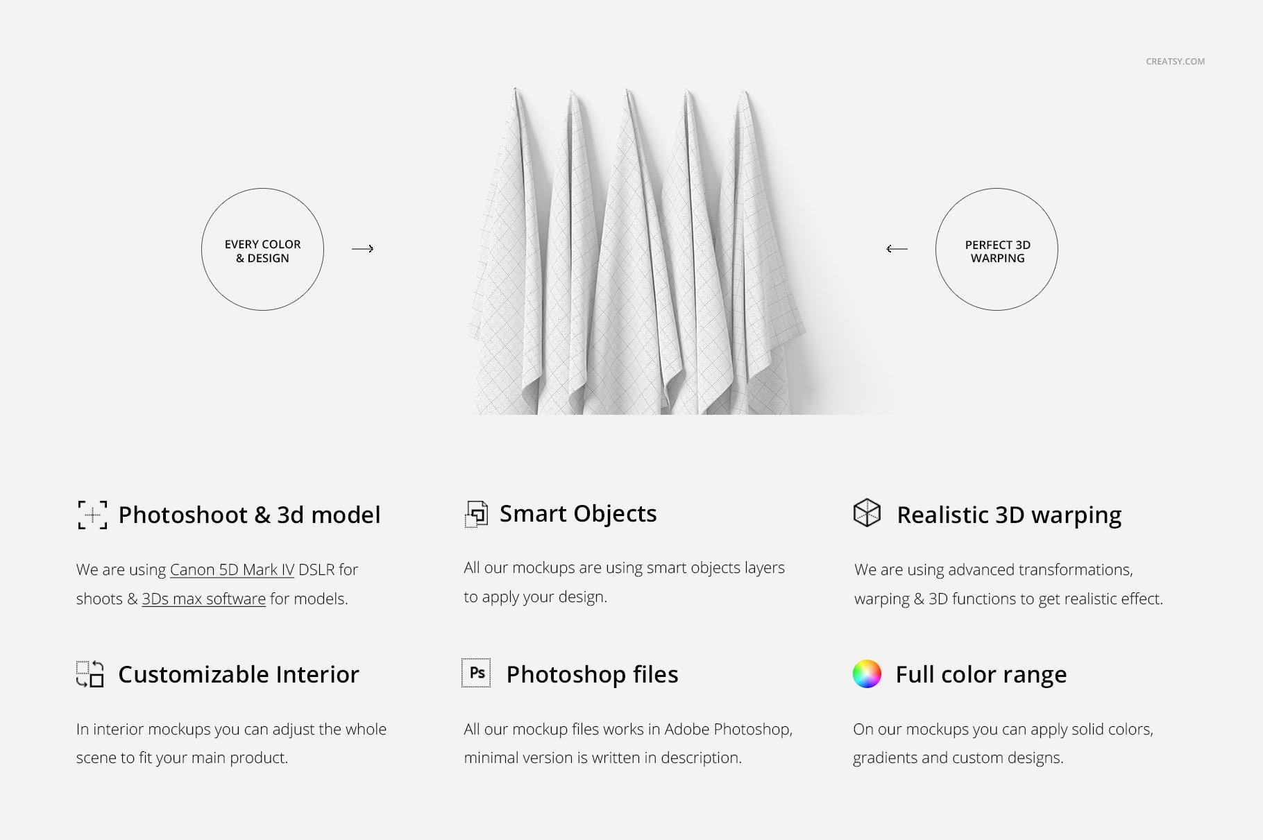 悬挂纺织面料印花设计展示样机 Hanging Fabrics Mockup 17/FF v.6插图(1)