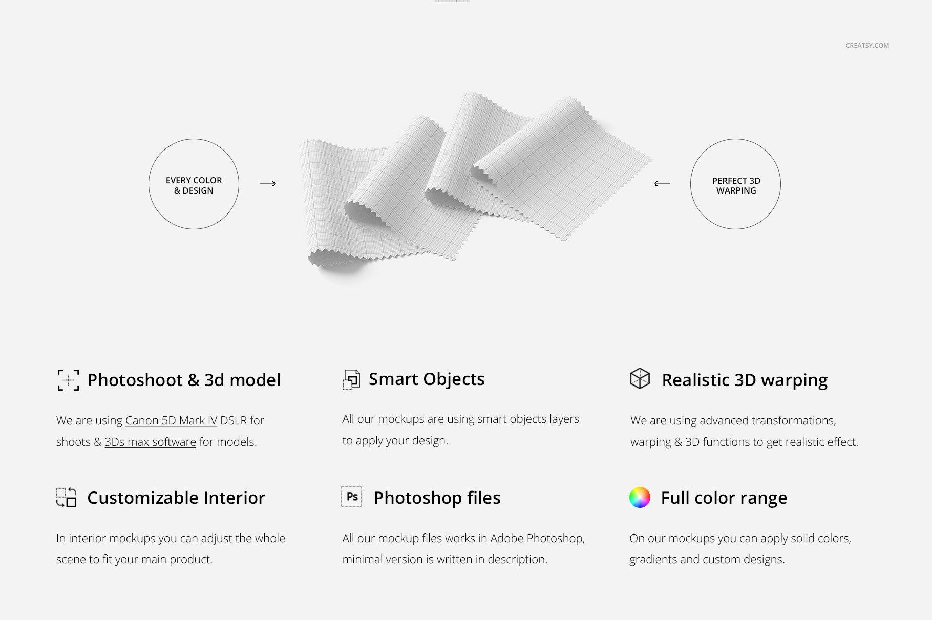 纺织物色板设计展示样机模板 Fabric Swatches Mockup 18/FF v.6插图(1)