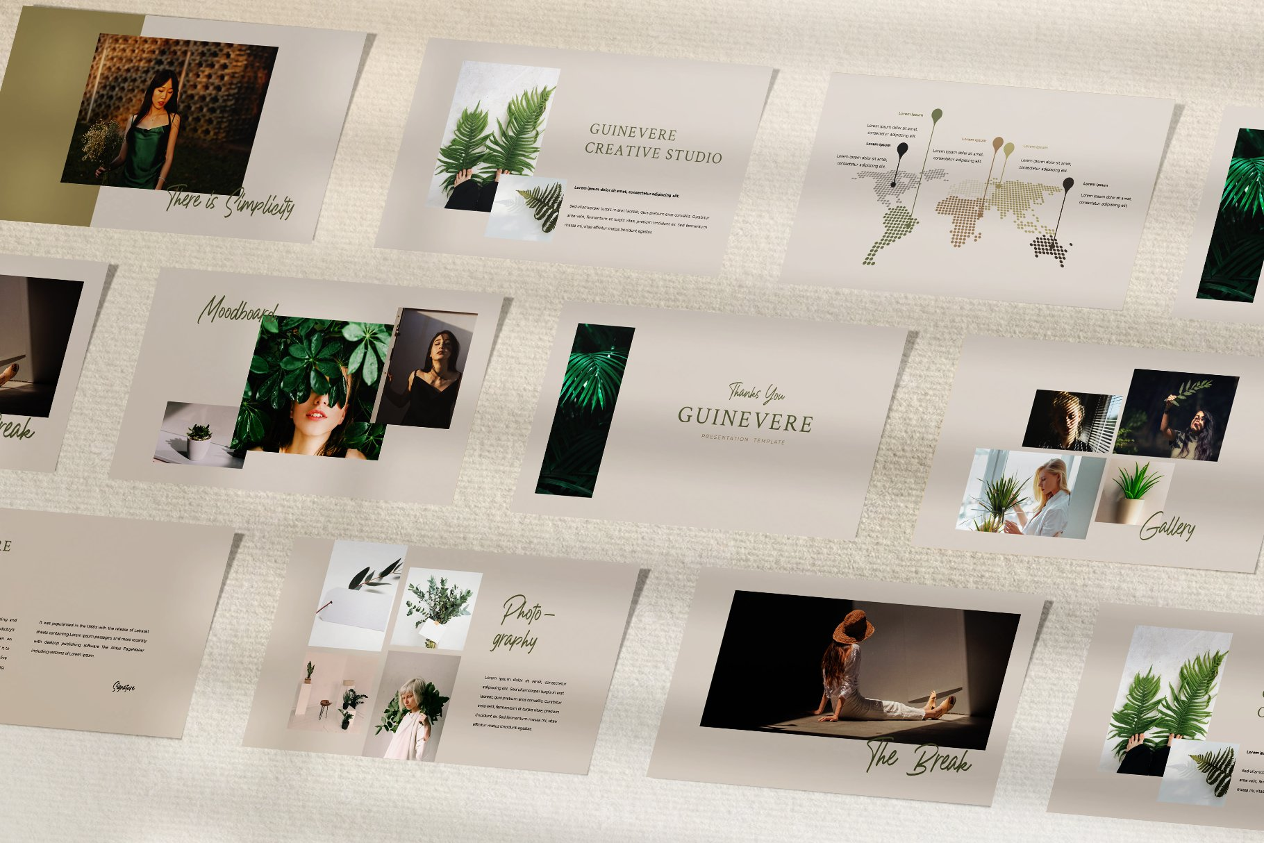 时尚品牌摄影作品集营销PPT幻灯片设计模板 Guinevere Presentation Template插图(3)