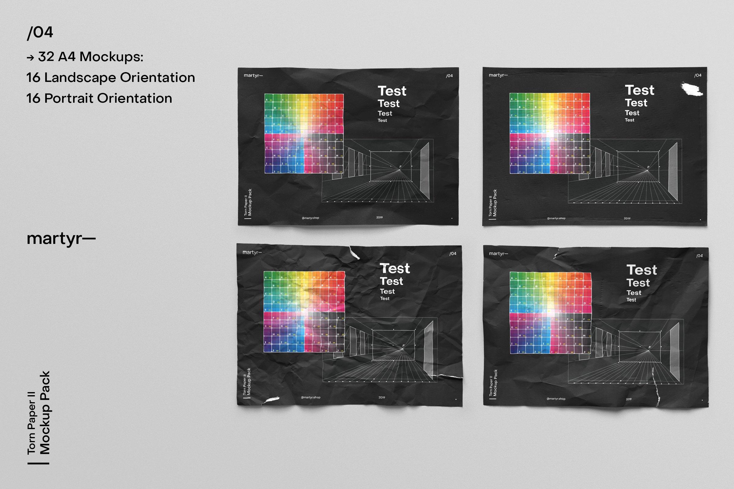 [淘宝购买]32款潮流破损撕裂褶皱A4纸张海报传单设计样机模板 Torn Paper II — Mockup Pack插图(21)