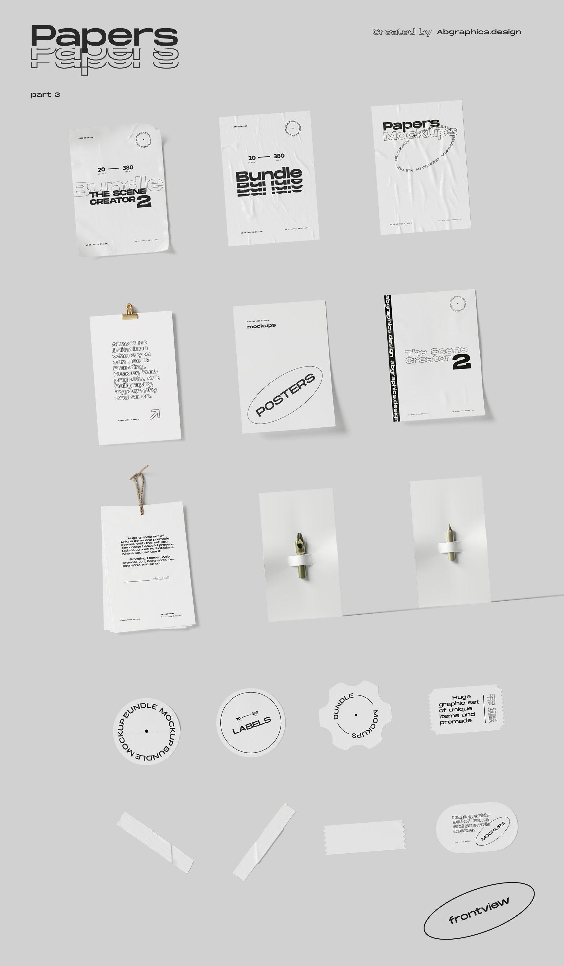 [淘宝购买] 超大品牌VI包装设计PS智能贴图样机模板素材 The Scene Creator 2 / Frontview插图(24)