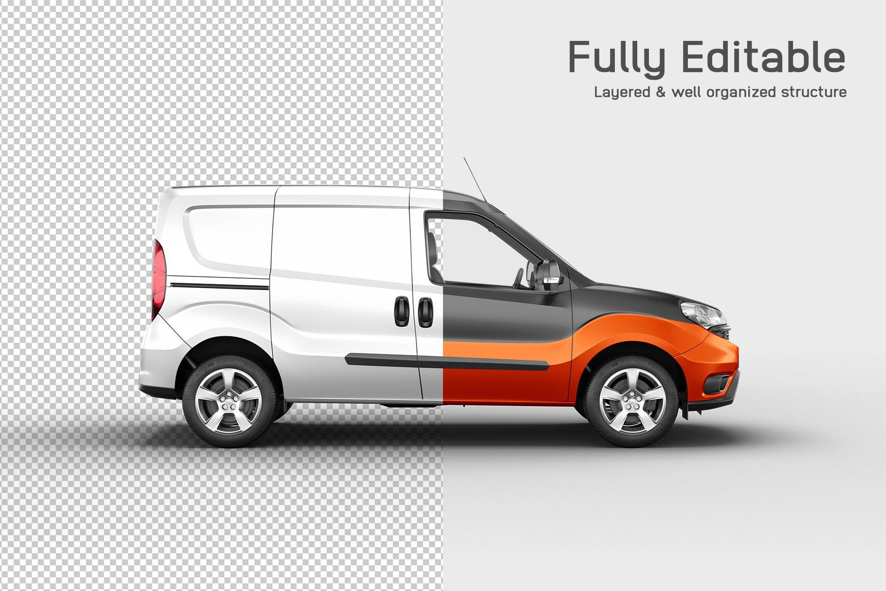 6款面包车小货车车身广告设计展示样机 Delivery Car Mockup 3插图(2)