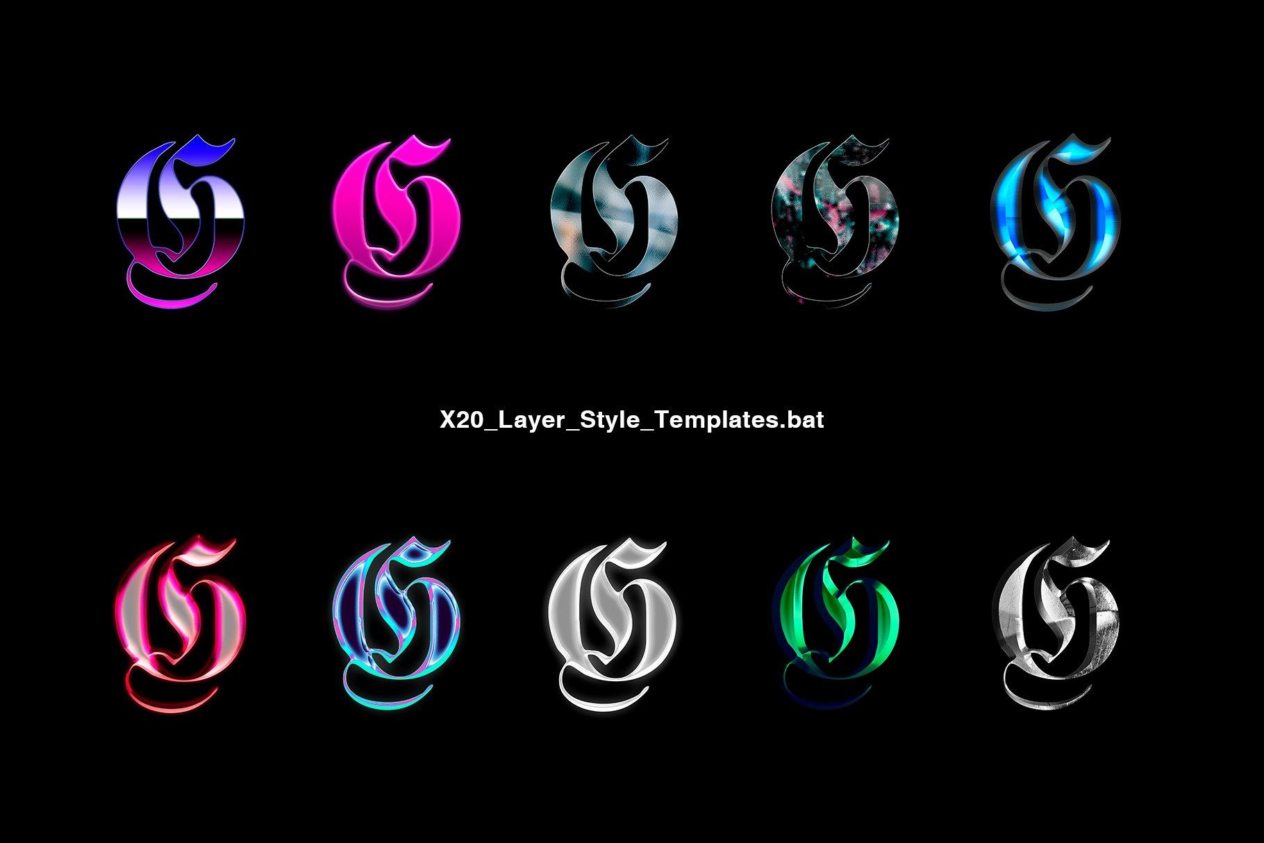 [淘宝购买] 20款金属渐变效果平面广告海报标题字体设计PS样式模板 Chrome Layer Style Pack插图(2)