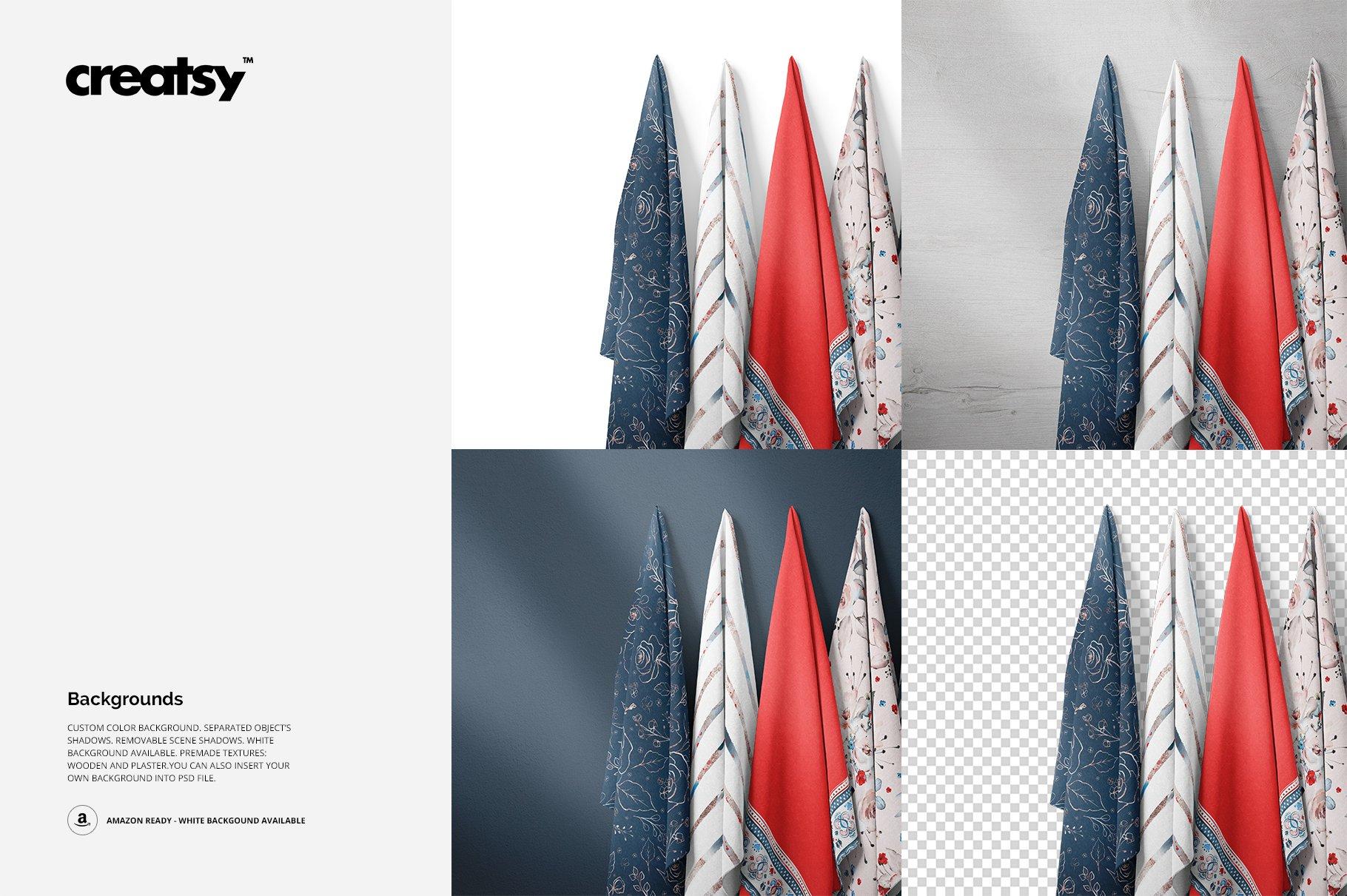 悬挂纺织面料印花设计展示样机 Hanging Fabrics Mockup 17/FF v.6插图(2)