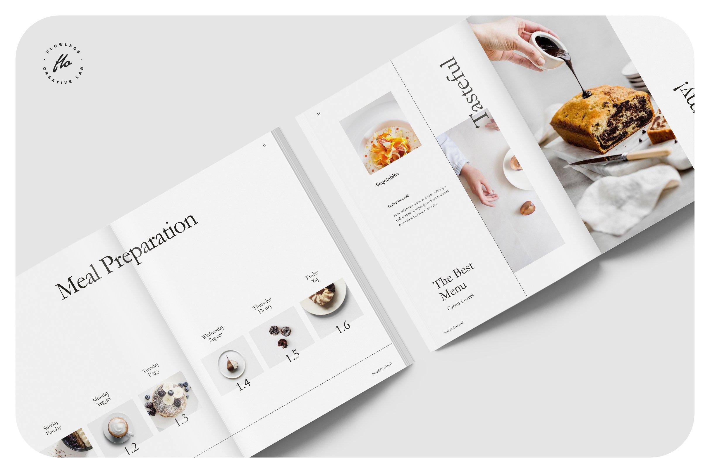 简约食谱菜单图文排版设计INDD画册模板 BLUSHFUL Editorial Cookbook插图(2)