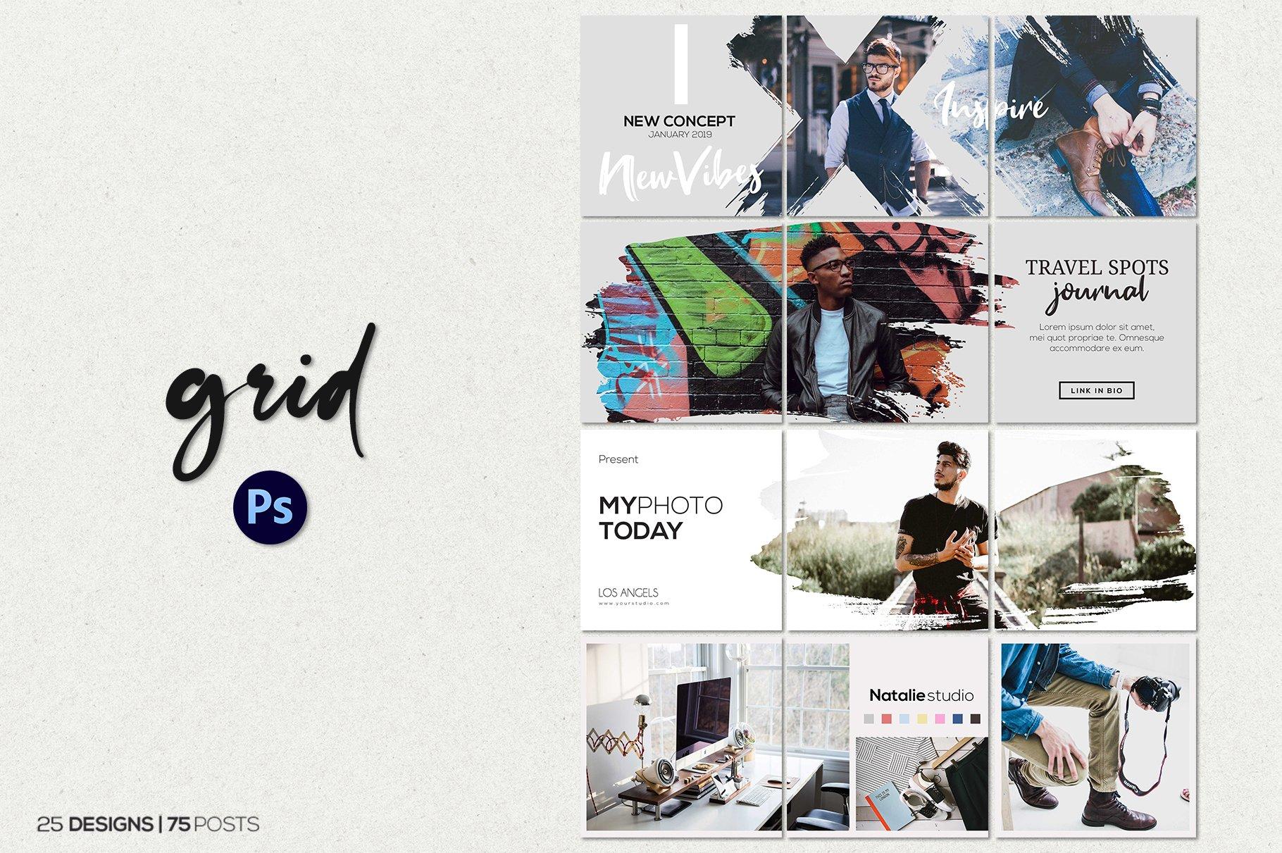毛笔笔刷效果新媒体电商海报设计PSD模板 Agenda Insta Grid (Triple Posts)插图(1)