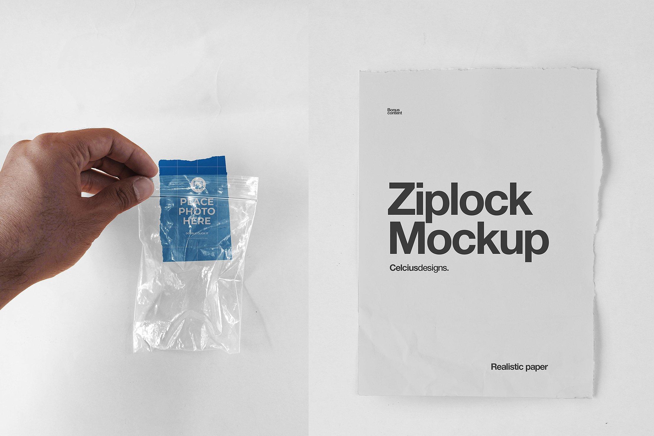 4款塑料自封包装袋设计贴图样机PSD模板 Zip Lock Mockups插图(2)