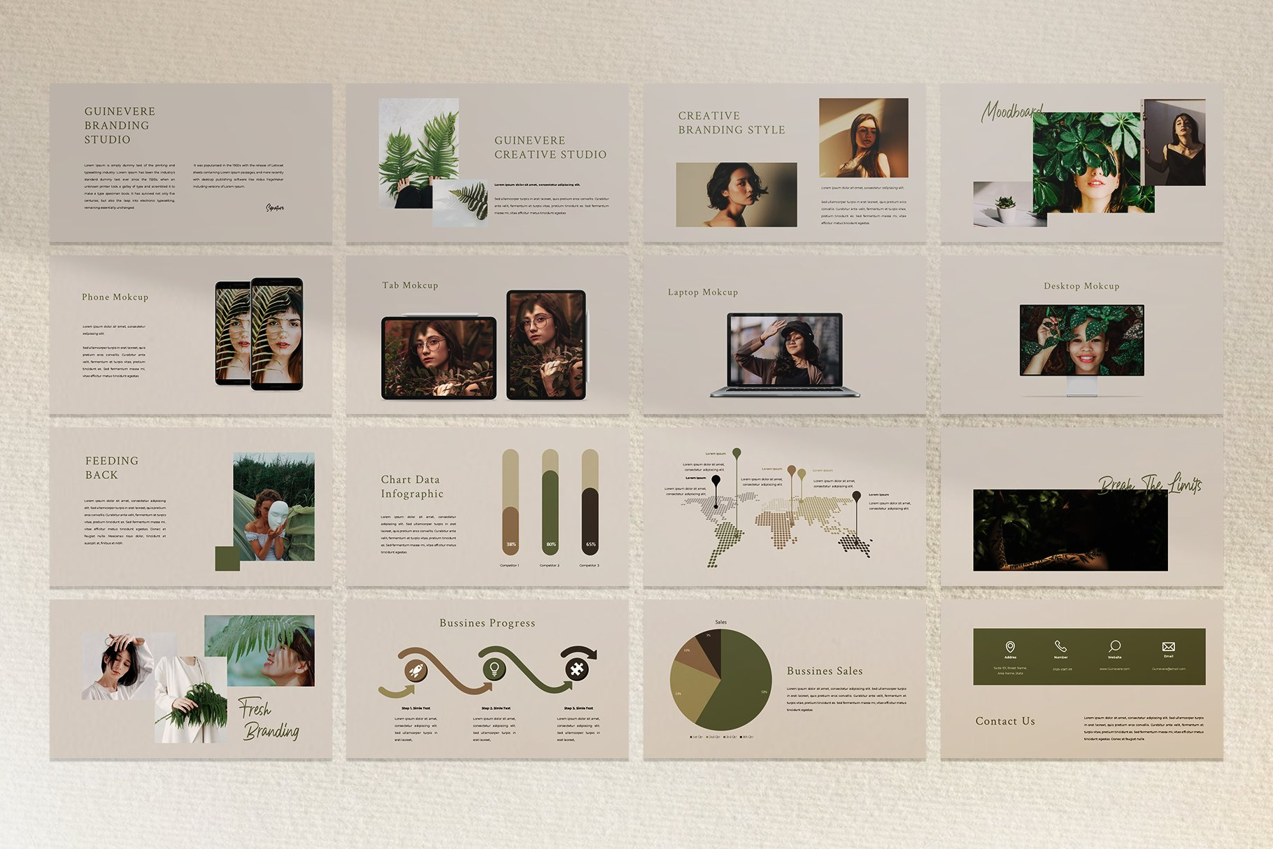 时尚品牌摄影作品集营销PPT幻灯片设计模板 Guinevere Presentation Template插图(5)