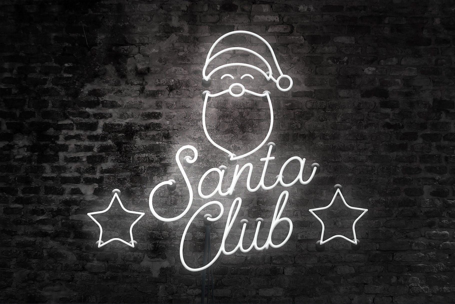 圣诞节主题霓虹灯效果图形文字设计PS样式模板 Neon Christmas Layer Style插图(2)