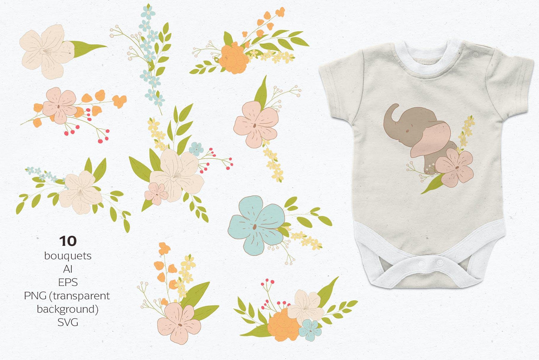 可爱卡通手绘大象花卉插画矢量素材 Baby Shower Elephants插图(2)
