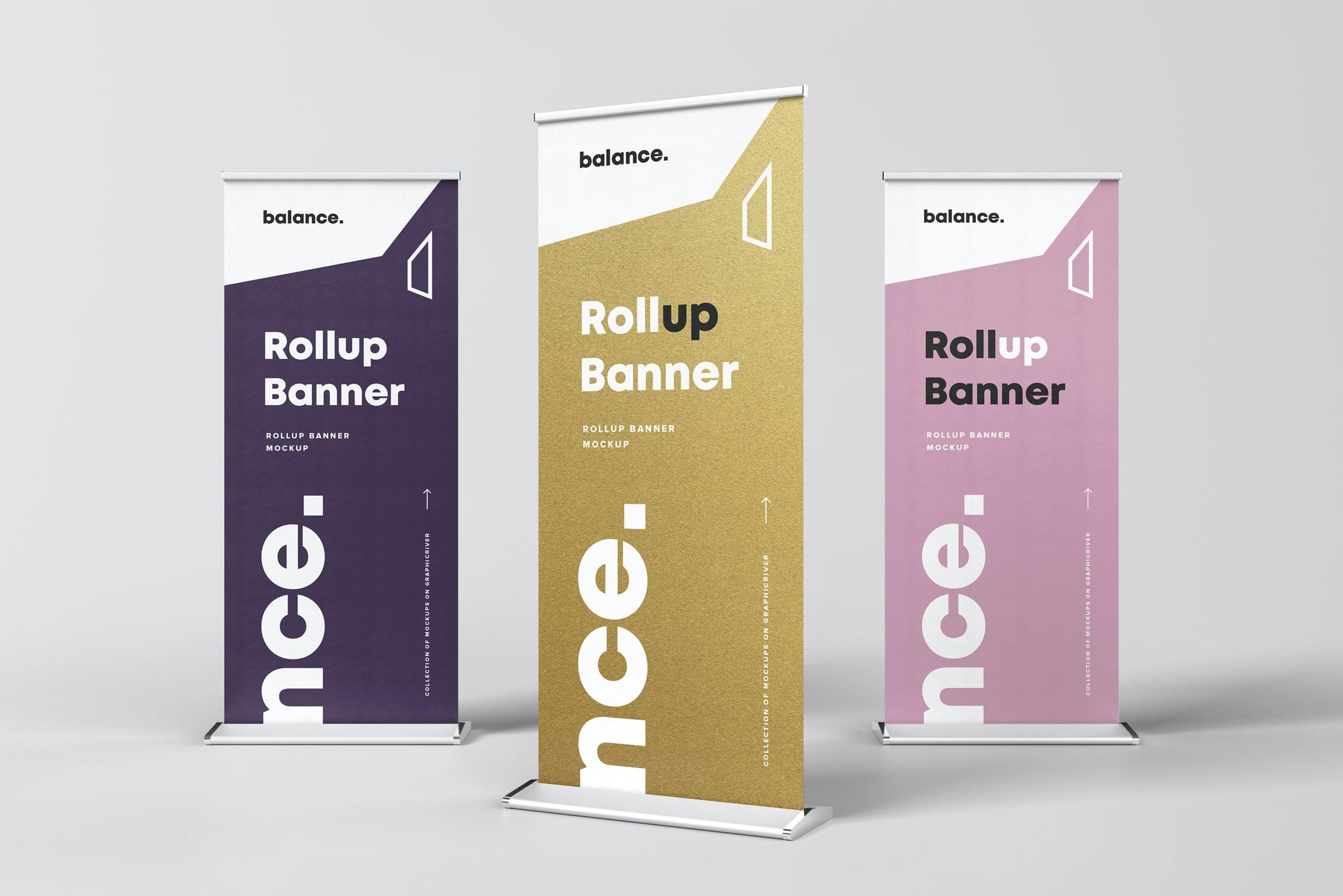 7款自立式易拉宝展架横幅海报设计展示样机模板 Roll Up Banner Mockup插图(2)