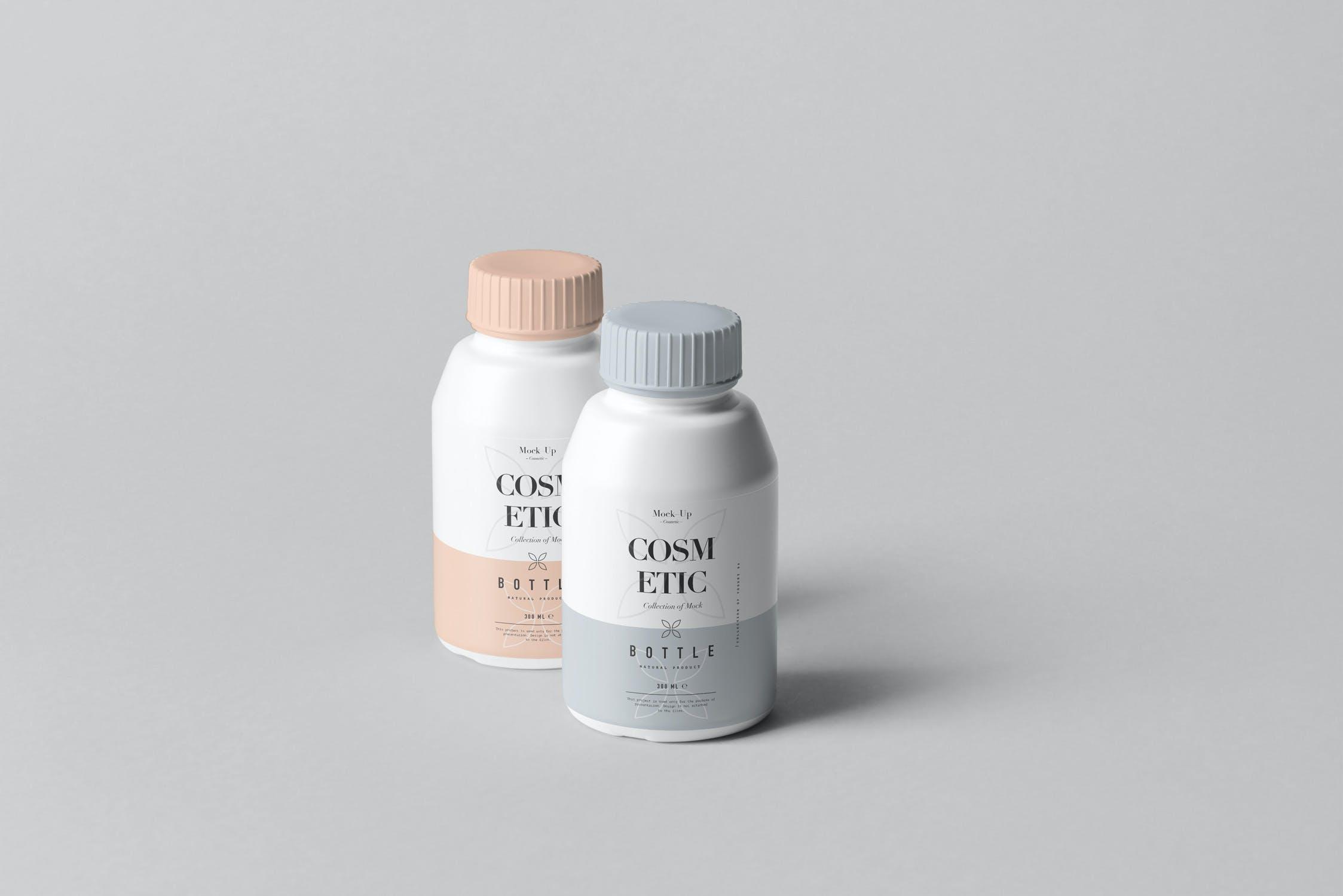 10款化妆品塑料包装罐设计展示样机PSD模板 Cosmetic Bottle Mockup 3插图(2)