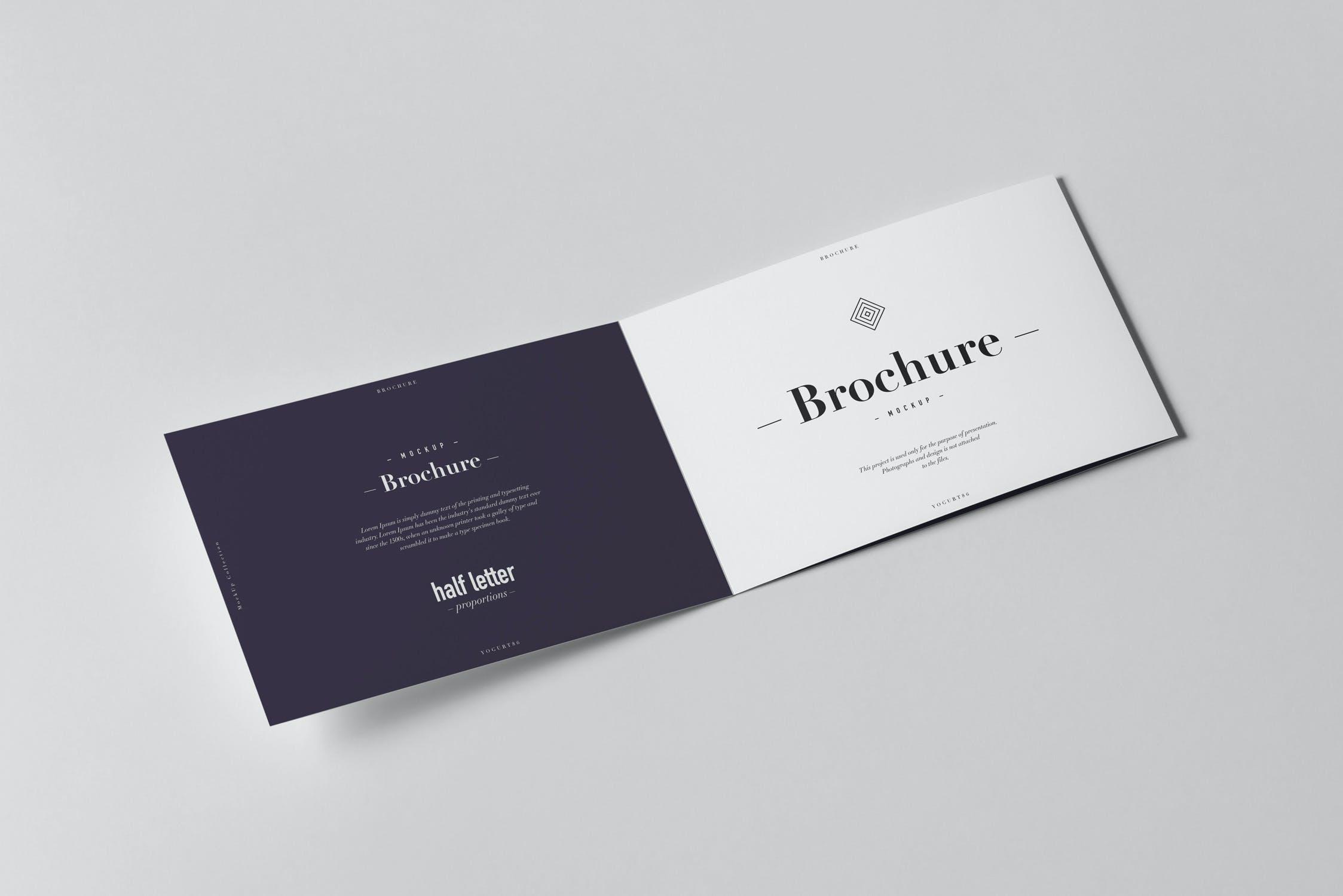 9款横版三折页小册子设计展示样机模板 Tri-Fold Half Letter Horizontal Brochure Mockup插图(2)