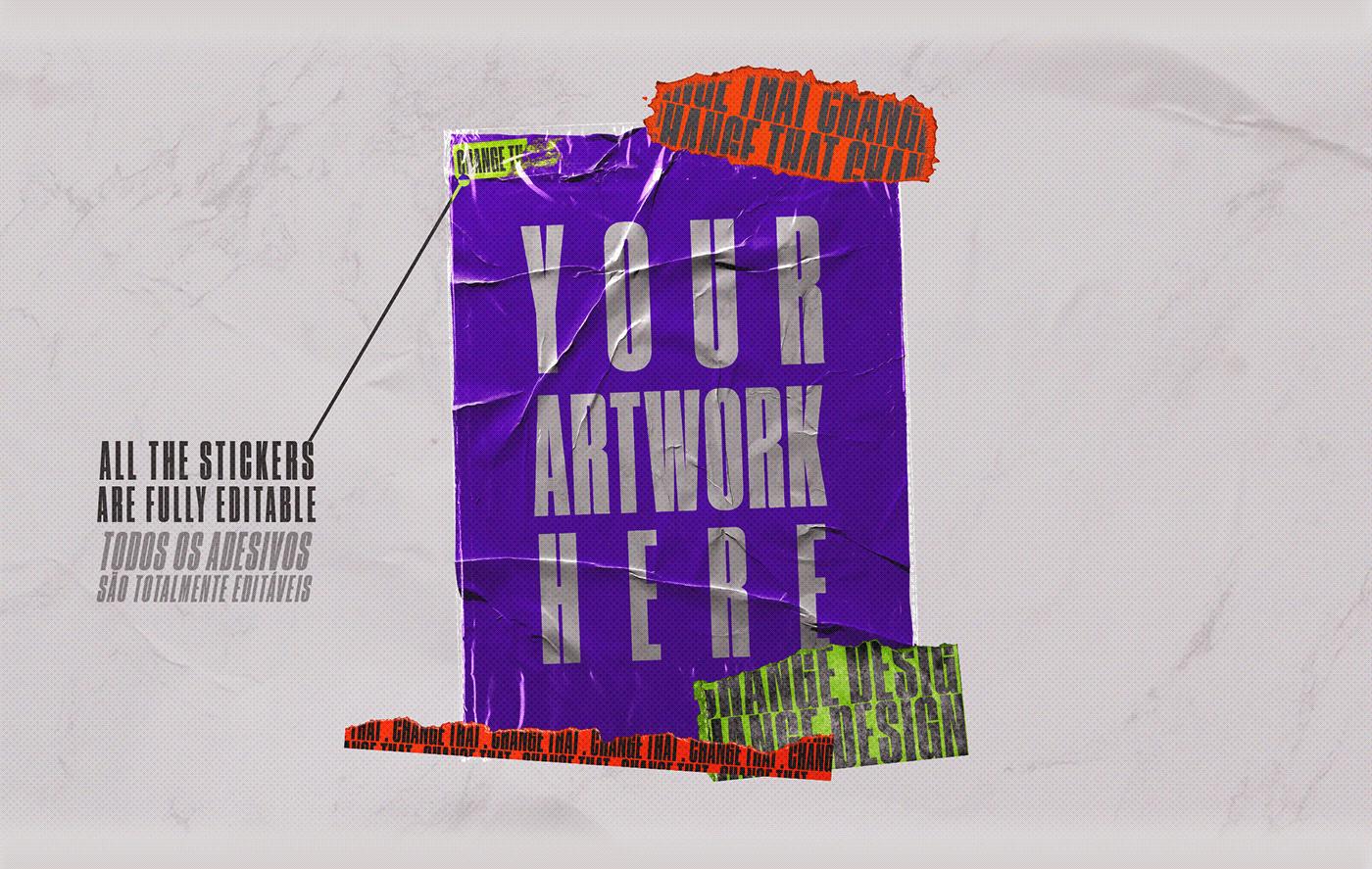 [淘宝购买] 4款潮流撕纸塑料袋叠层效果海报设计贴图PSD样机 CORES Mockups Pack插图(2)
