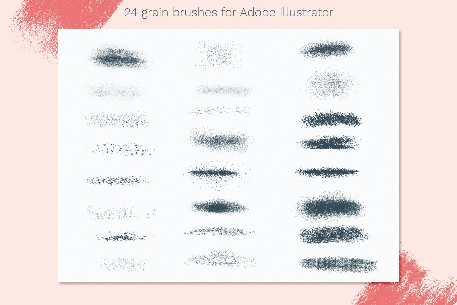 24款斑点颗粒AI矢量笔刷纹理素材 Vector Grain Brushes – Illustrator插图(2)