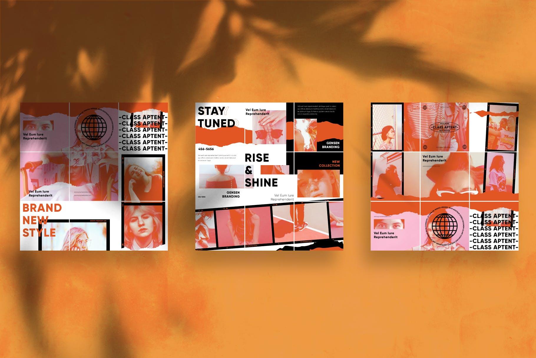 现代拼图效果新媒体推广电商海报设计模板 Gensen – Instagram Puzzle Template插图(2)