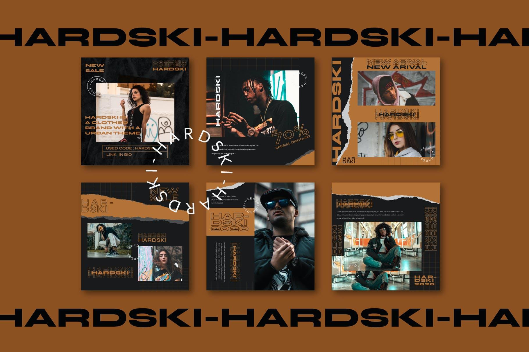 潮流街头潮牌服装推广新媒体电商海报设计PSD模板 Hardski – Instagram Post And Stories插图(2)