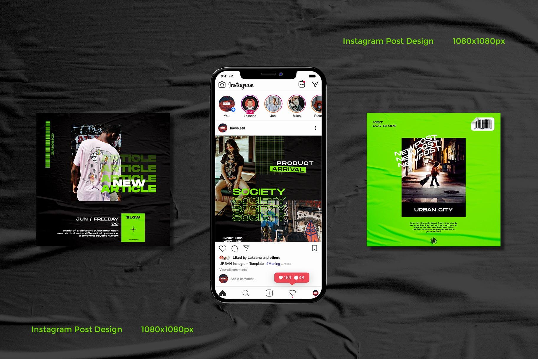 潮流品牌推广电商新媒体海报设计模板 Neon Urban – Instagram Template插图(2)