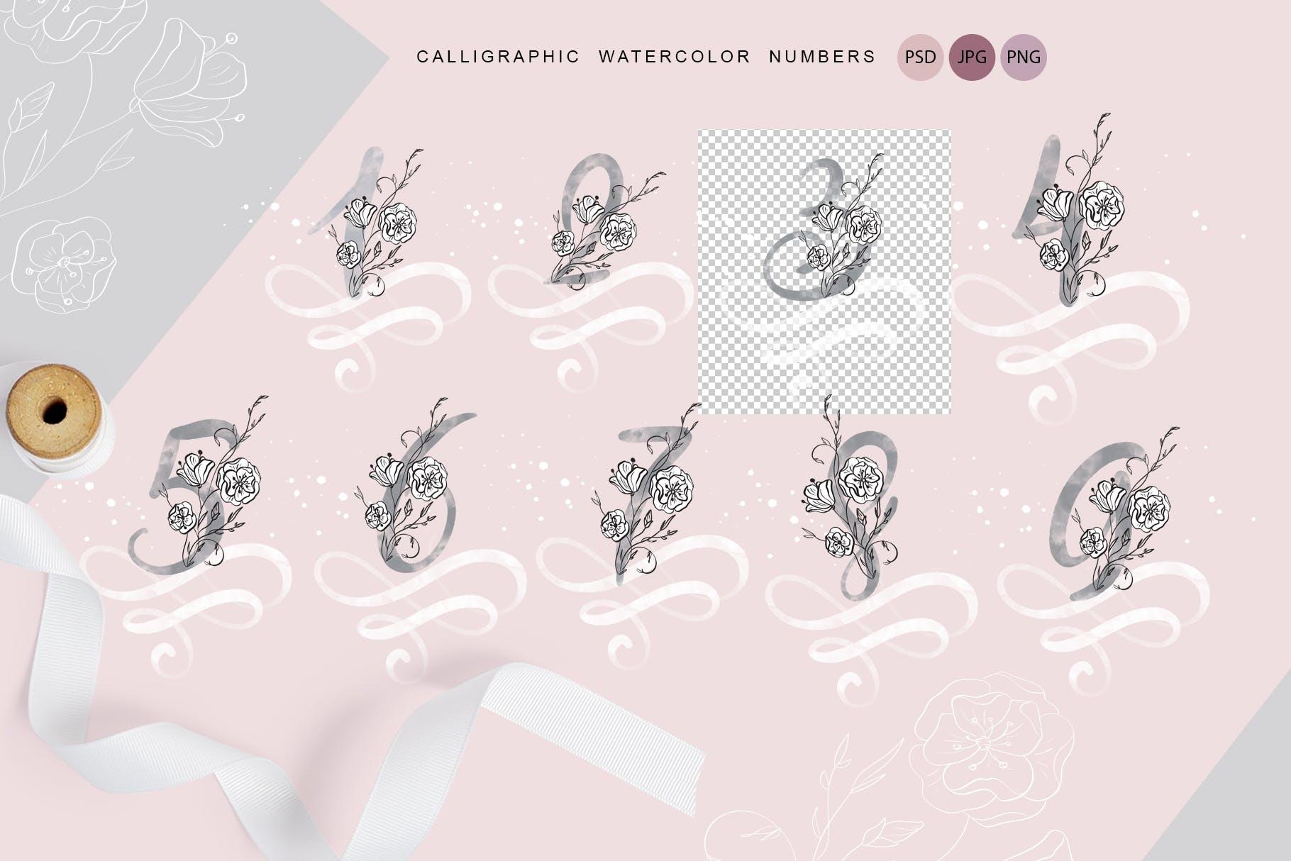 花卉字母水彩字母表装饰图案图片素材 Flowers Letters Watercolor Alphabet插图(2)