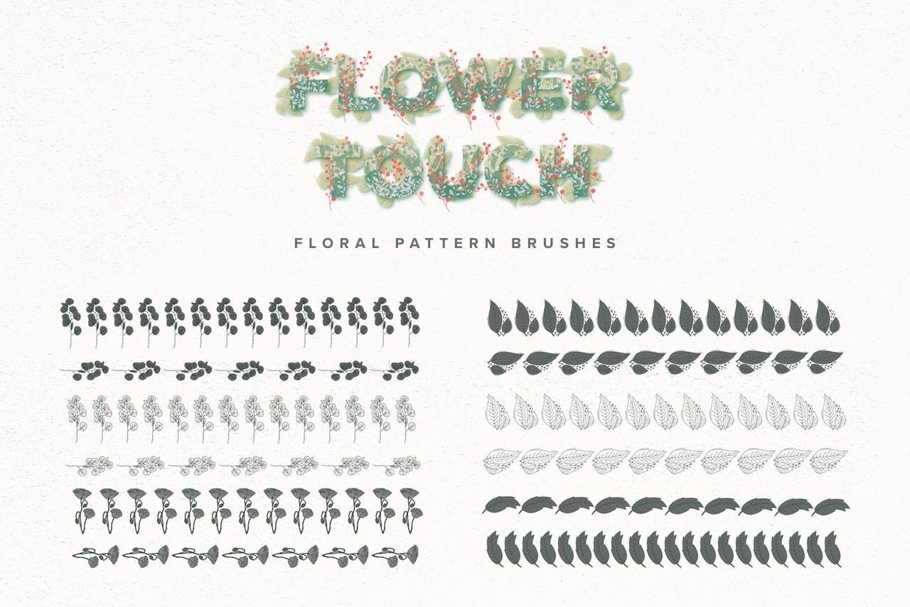 艺术绘画花卉装饰图案纹理Procreate笔刷 Flower Touch Procreate Brushes插图(2)