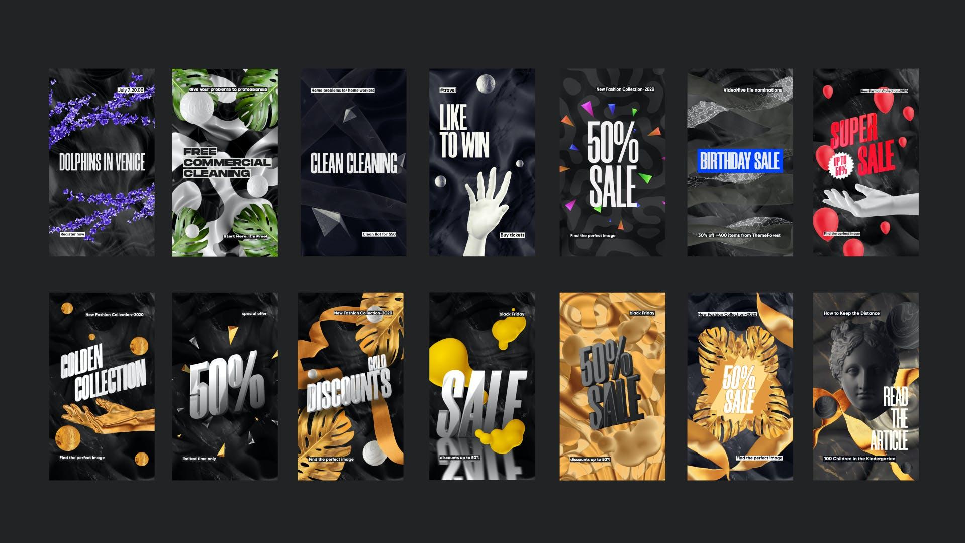 黑色高端品牌推广新媒体电商海报设计PSD模板 Sale Promotion Social Media Kit插图(2)
