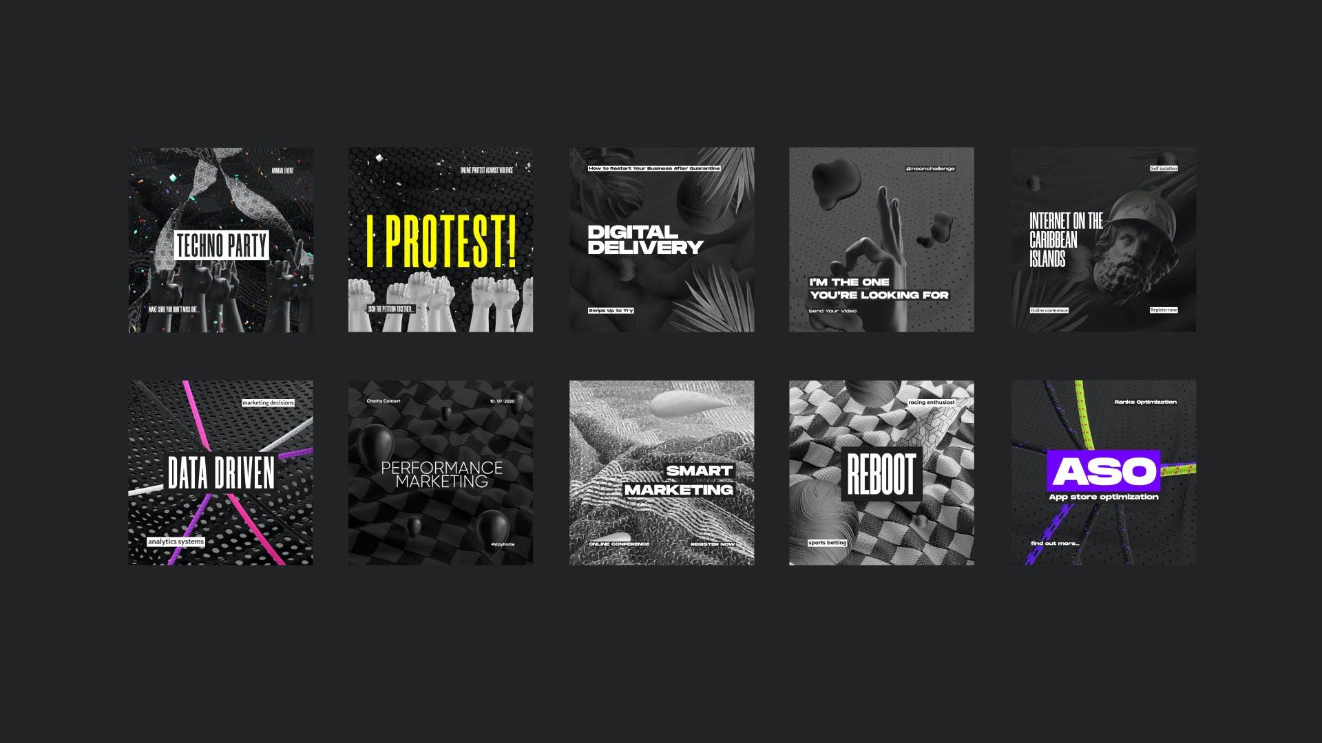 黑色潮牌新媒体推广电商海报设计模板合集 Black Social Media Pack插图(2)