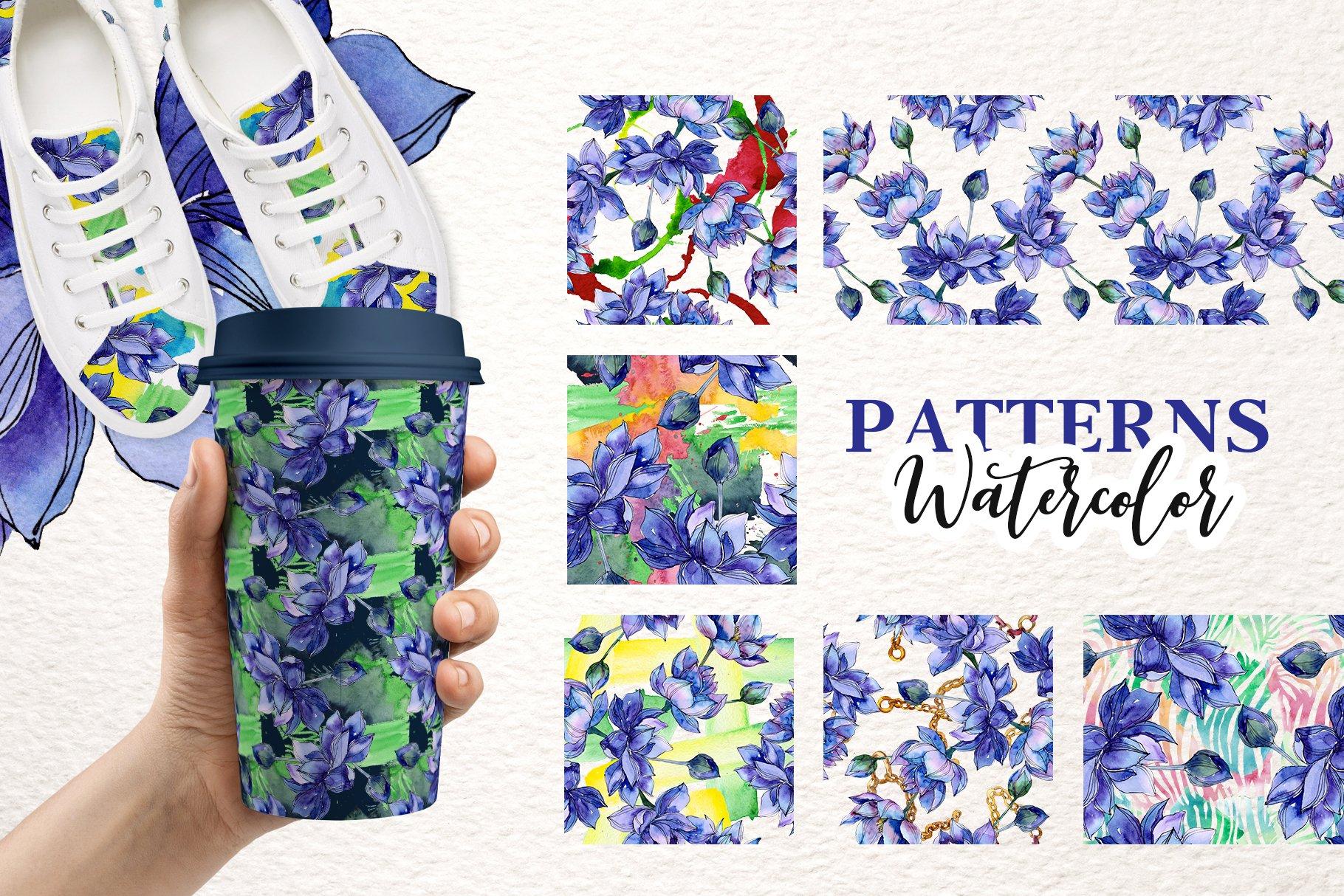 18个高清手绘莲花水彩画PNG免抠图片素材 Watercolor Lotus Set插图(2)