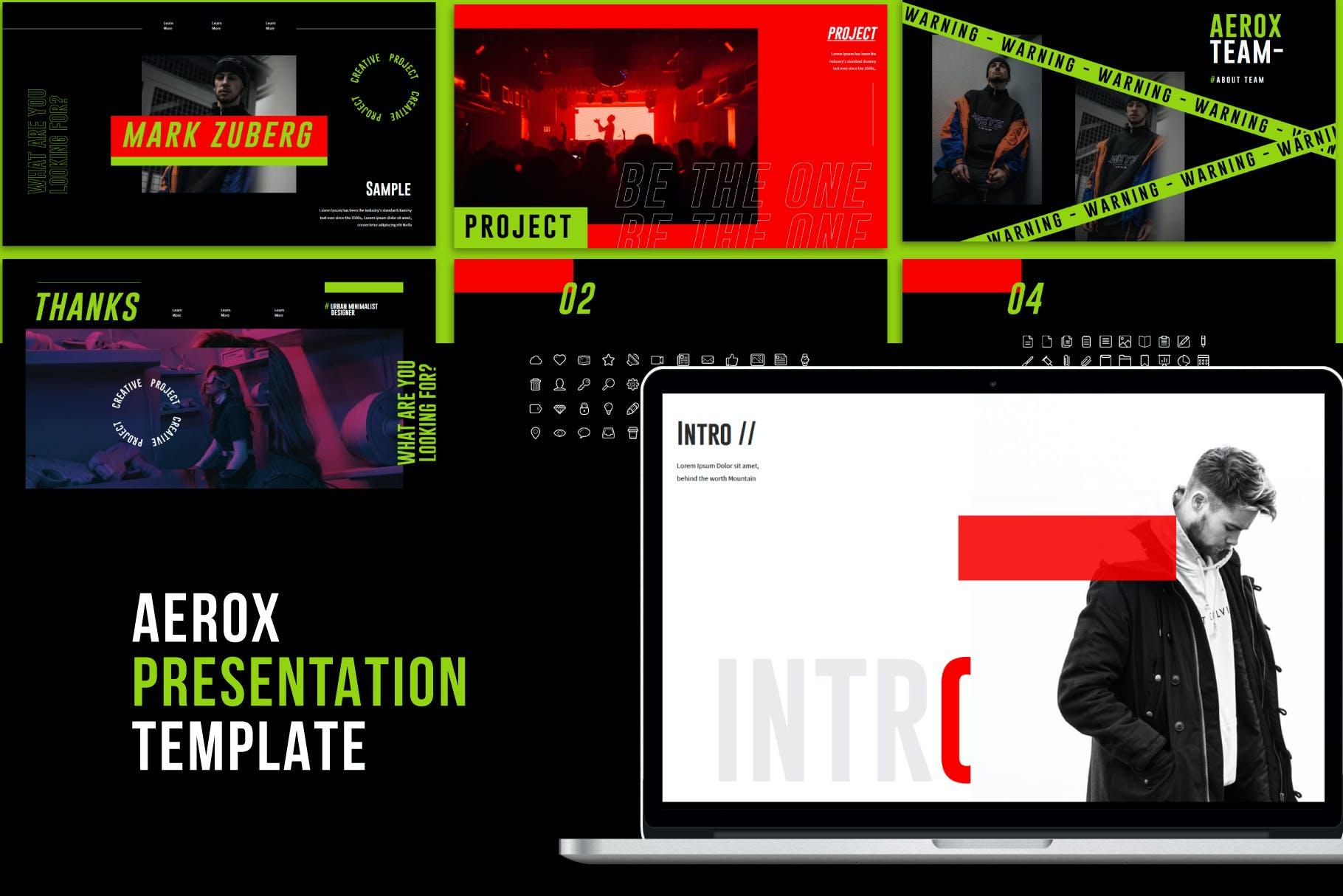 时尚潮流撞色运动潮牌品牌推广PPT演示文稿模板素材 Aerox – Powerpoint Template插图(2)