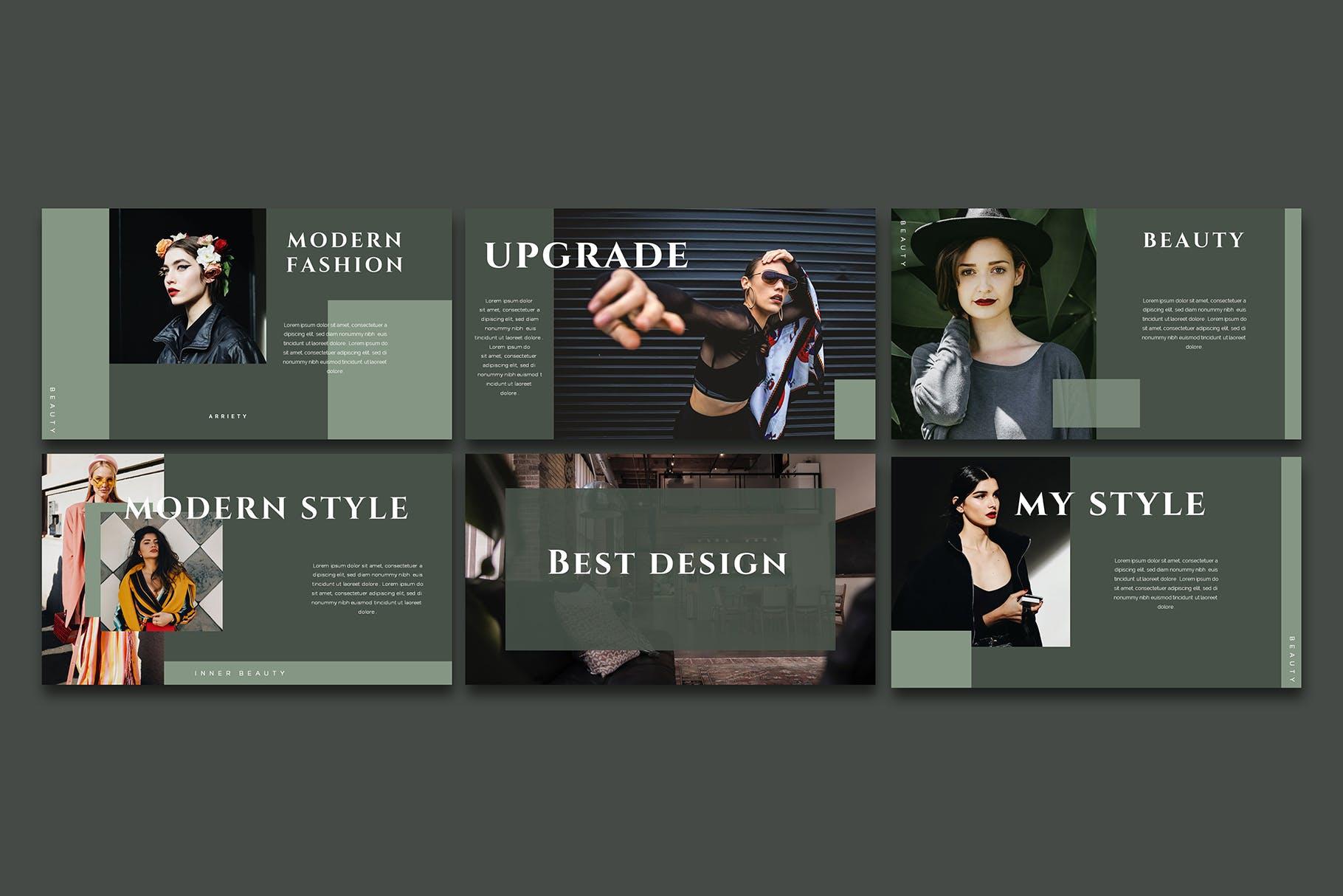 时尚优雅极简莫兰迪色时尚品牌推广PPT演示文稿模板 Arriety – PowerPoint Template插图(2)