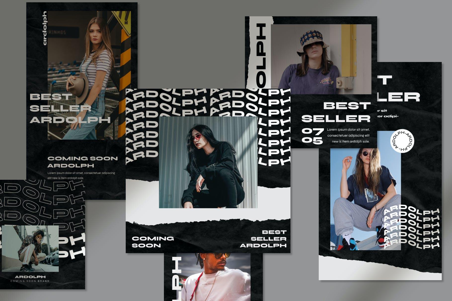 时尚撕纸效果街头潮牌品牌推广新媒体海报设计PSD模板 Ardolph – Instagram Post and Stories插图(2)
