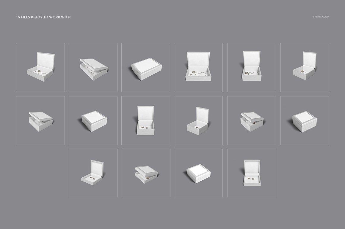16个木质珠宝盒设计展示样机模板集 Tiled Wood Jewelry Box Mockup Set插图(2)