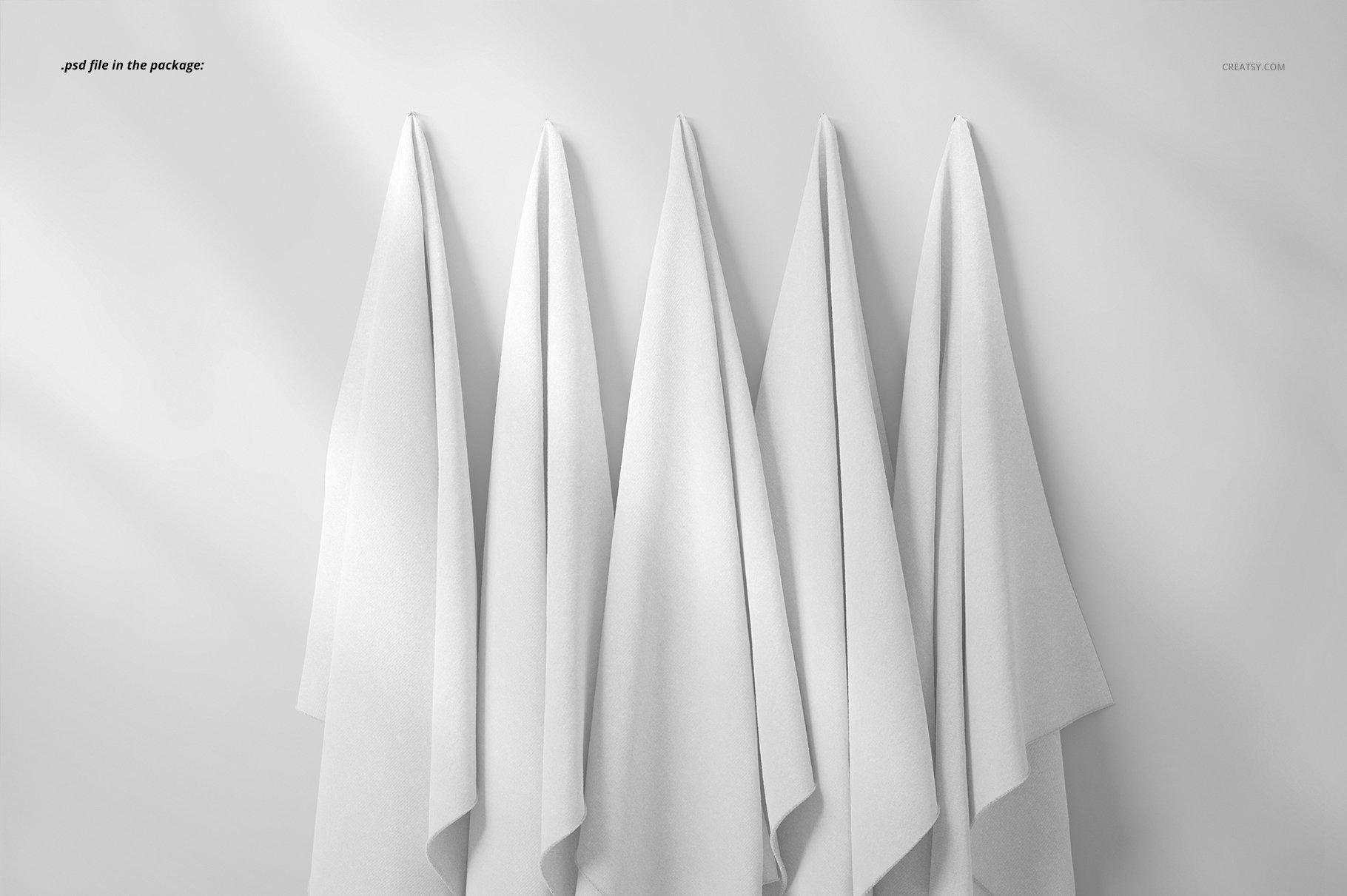 悬挂纺织面料印花设计展示样机 Hanging Fabrics Mockup 17/FF v.6插图(3)