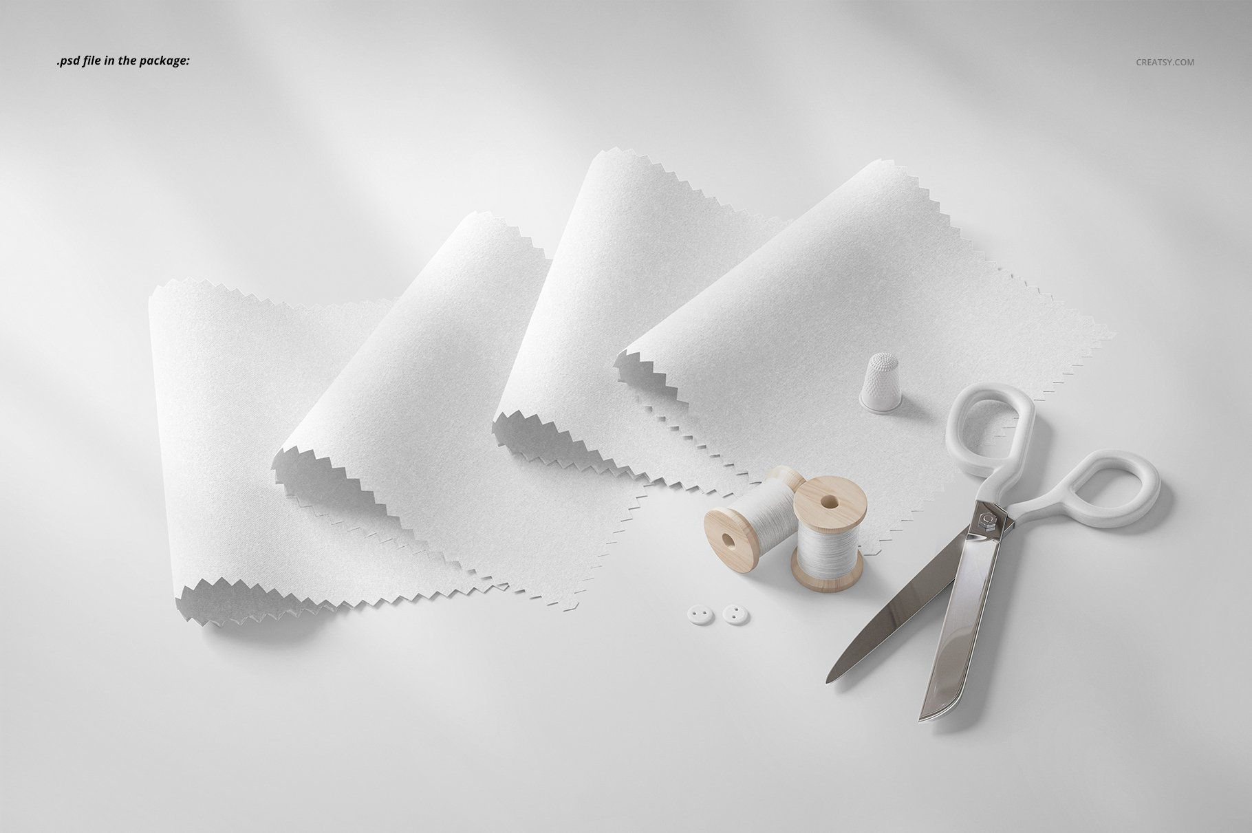 纺织物色板设计展示样机模板 Fabric Swatches Mockup 18/FF v.6插图(3)