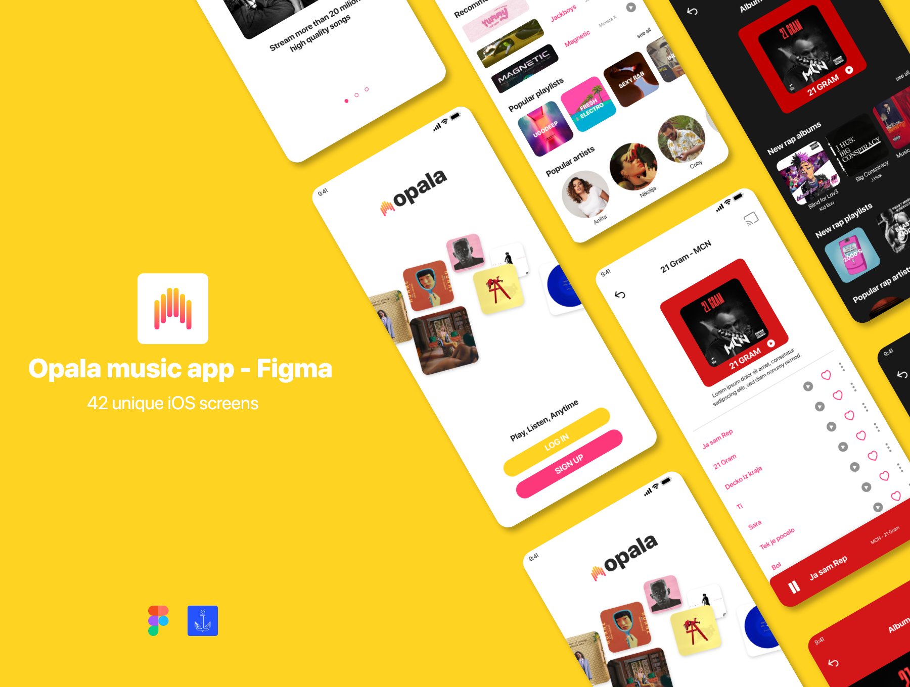 音乐播放器APP应用程序设计UI套件FIG模板 Opala Music app – FIGMA Version插图