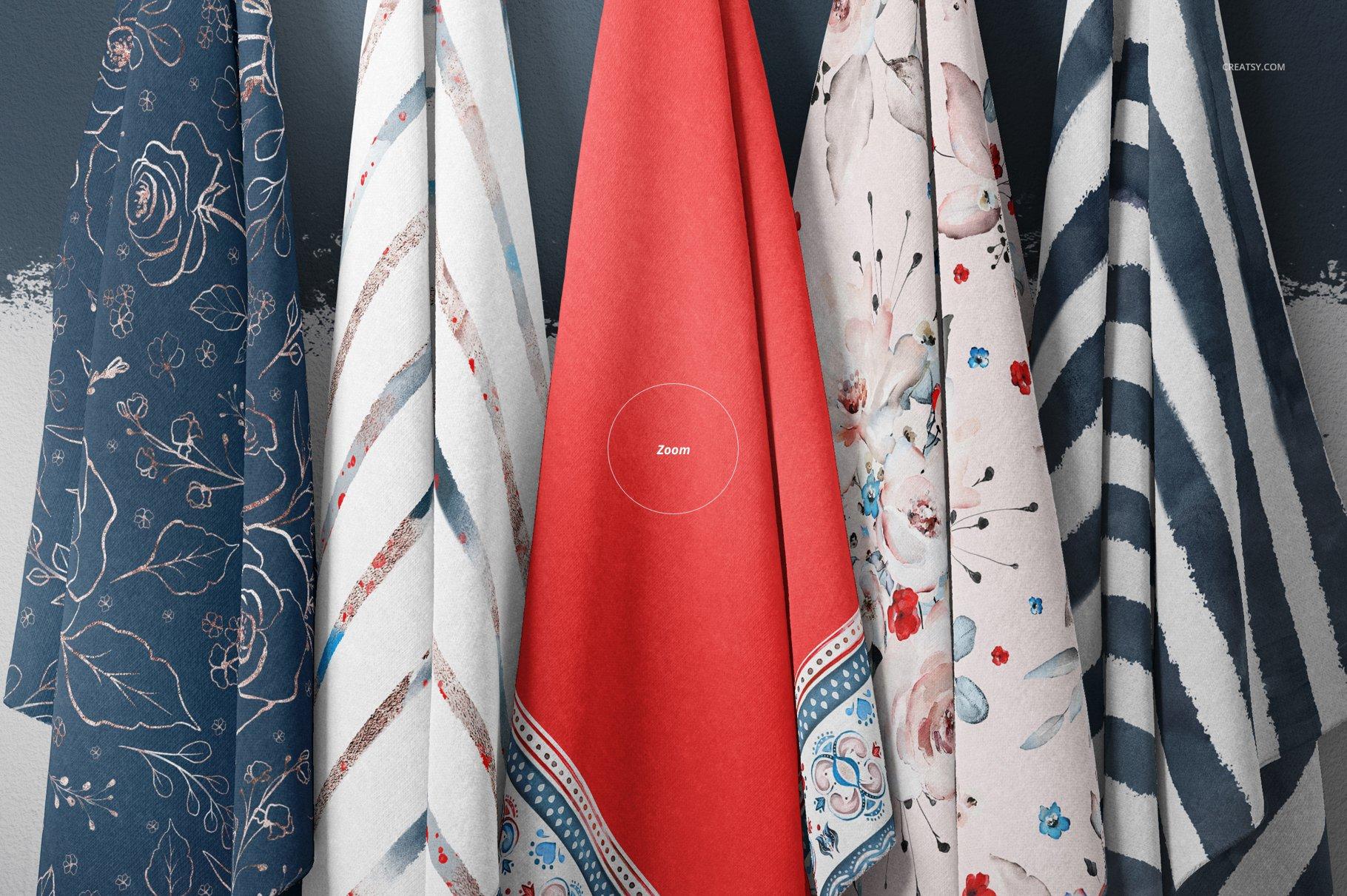悬挂纺织面料印花设计展示样机 Hanging Fabrics Mockup 17/FF v.6插图(4)